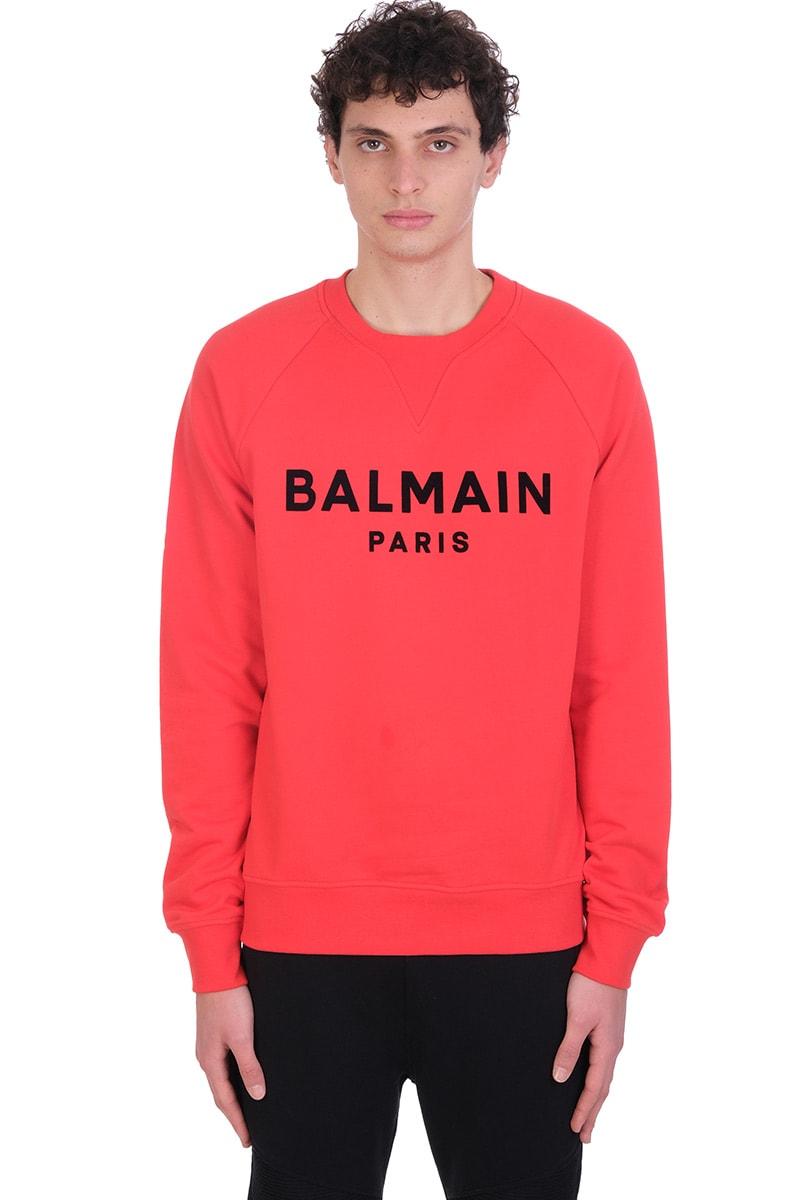 Balmain Sweatshirt In Red Cotton