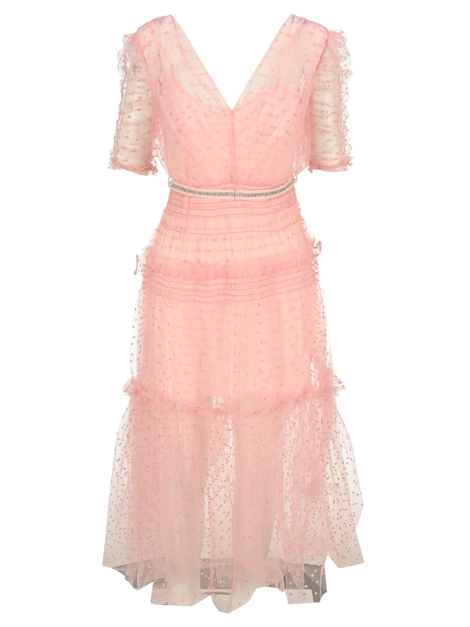 Buy Self Portrait Pink Dot Mesh Mini Dress online, shop self-portrait with free shipping