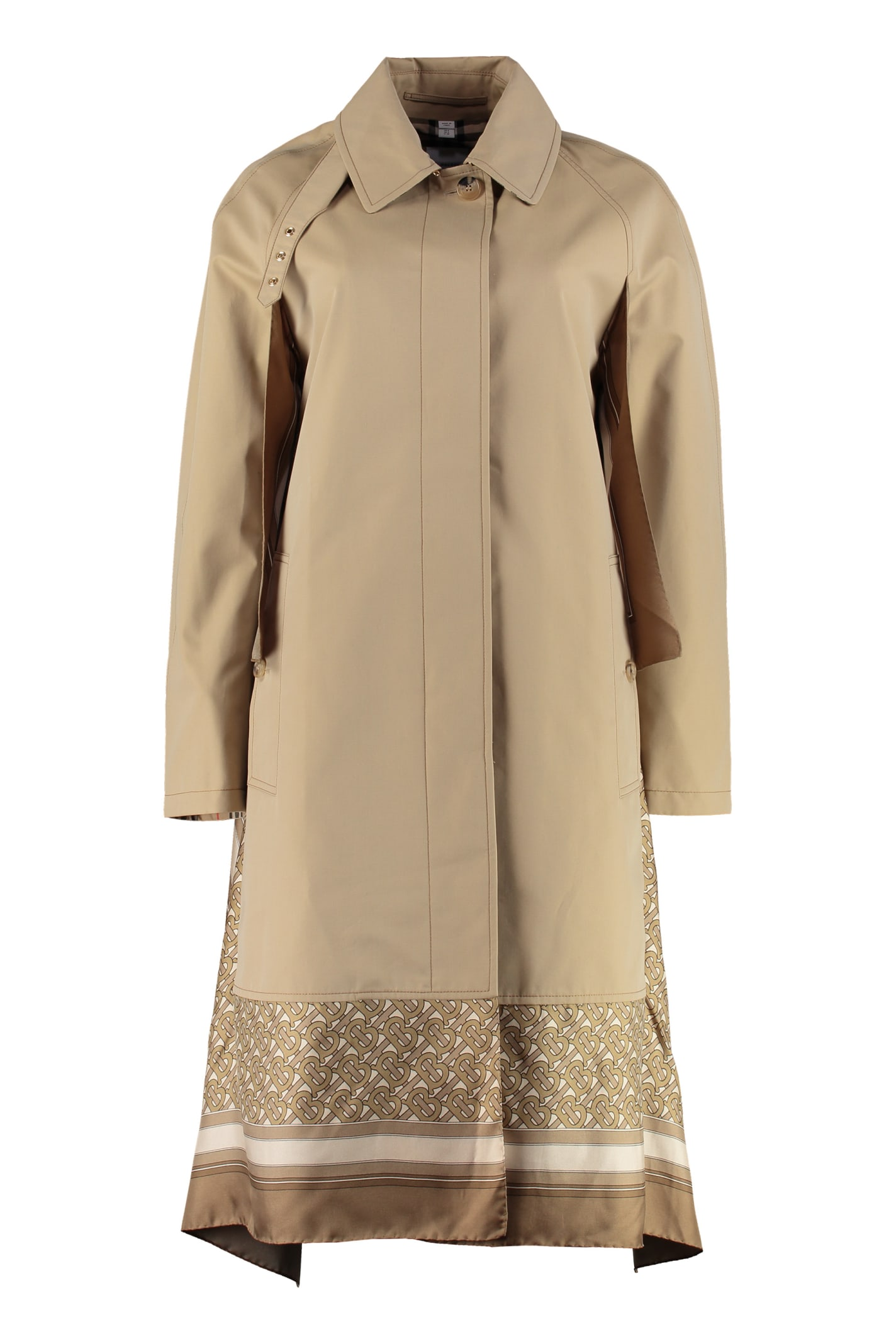 Burberry Cotton Car Coat With Silk Panel