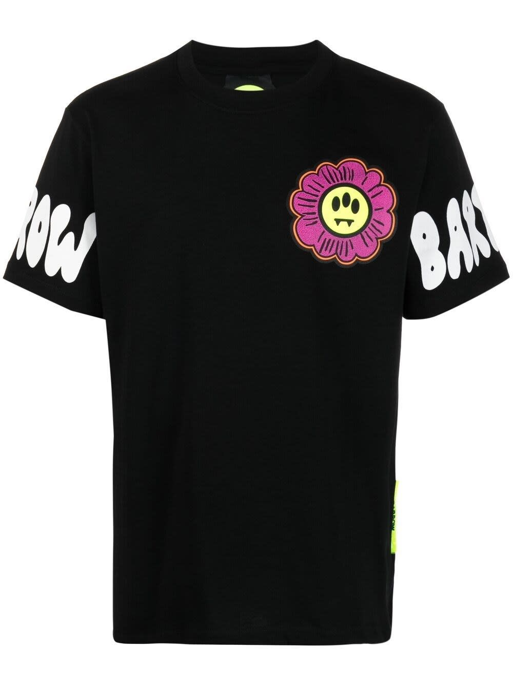 Barrow T-shirts COTTON T-SHIRT WITH FLOWER SMILE PRINT