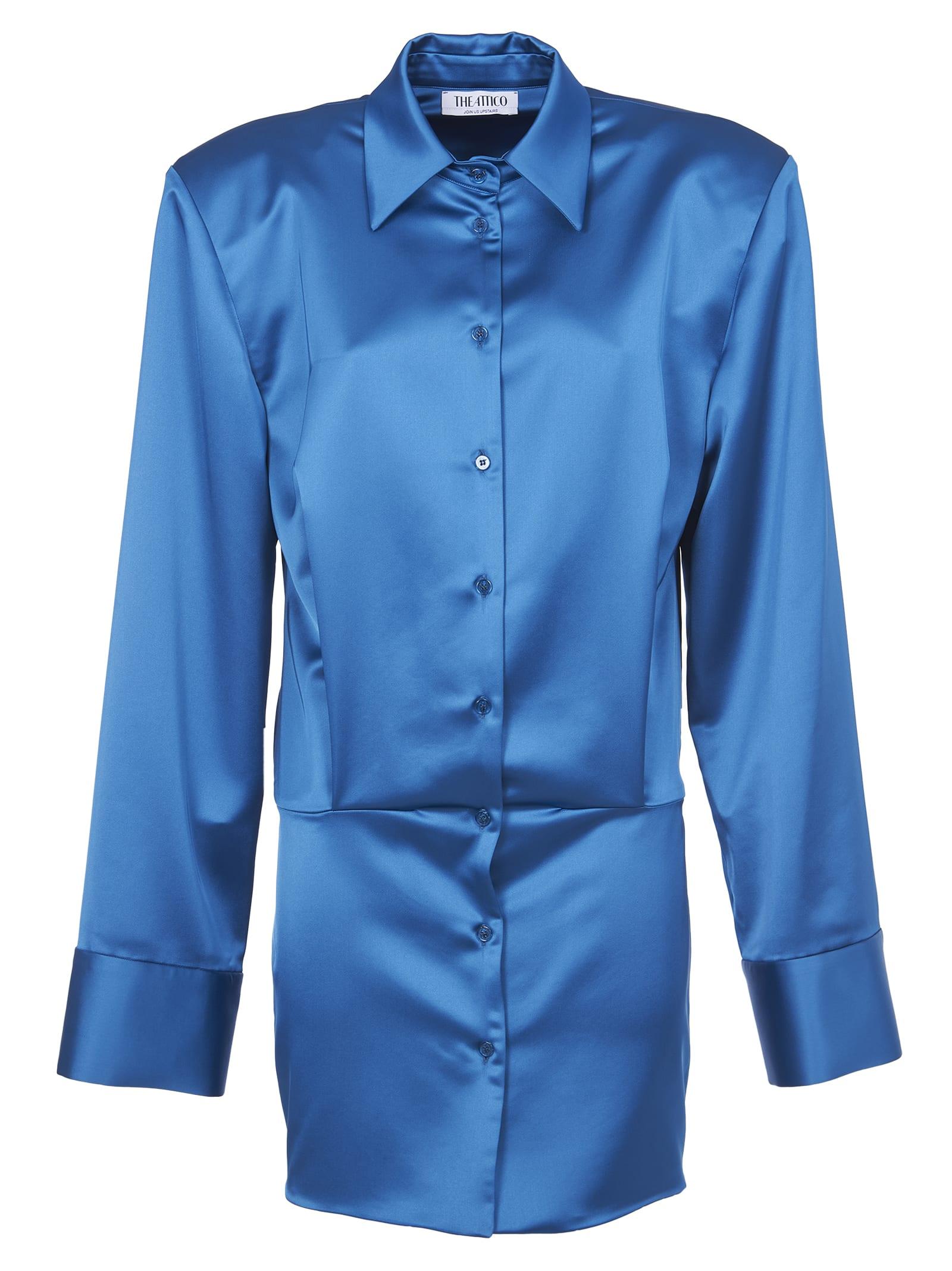 Buy The Attico Light Blue Satin Mini Dress online, shop The Attico with free shipping