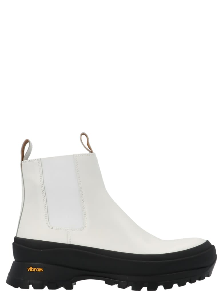 Buy Jil Sander Ankle Boot - Antick 101 Bianco? Gomma Nero online, shop Jil Sander shoes with free shipping