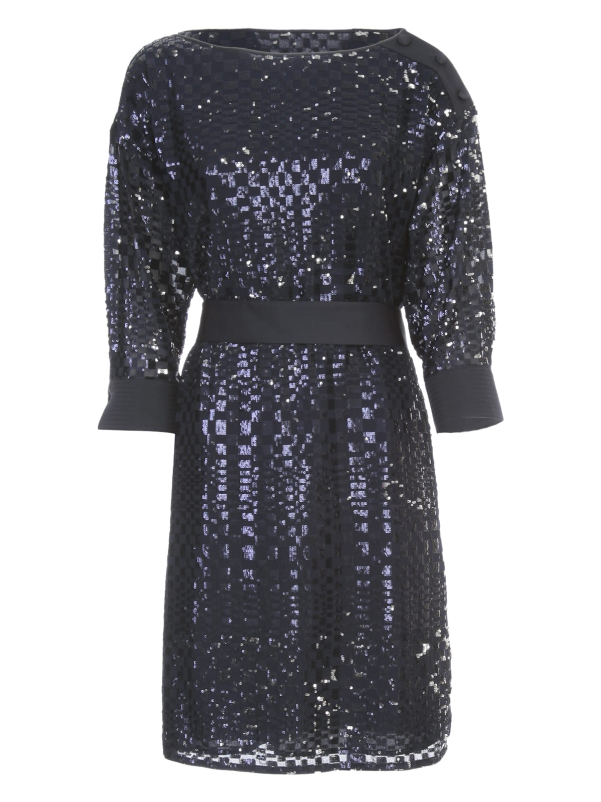 Buy Emporio Armani Dress L/s W/belt And Paillettes online, shop Emporio Armani with free shipping