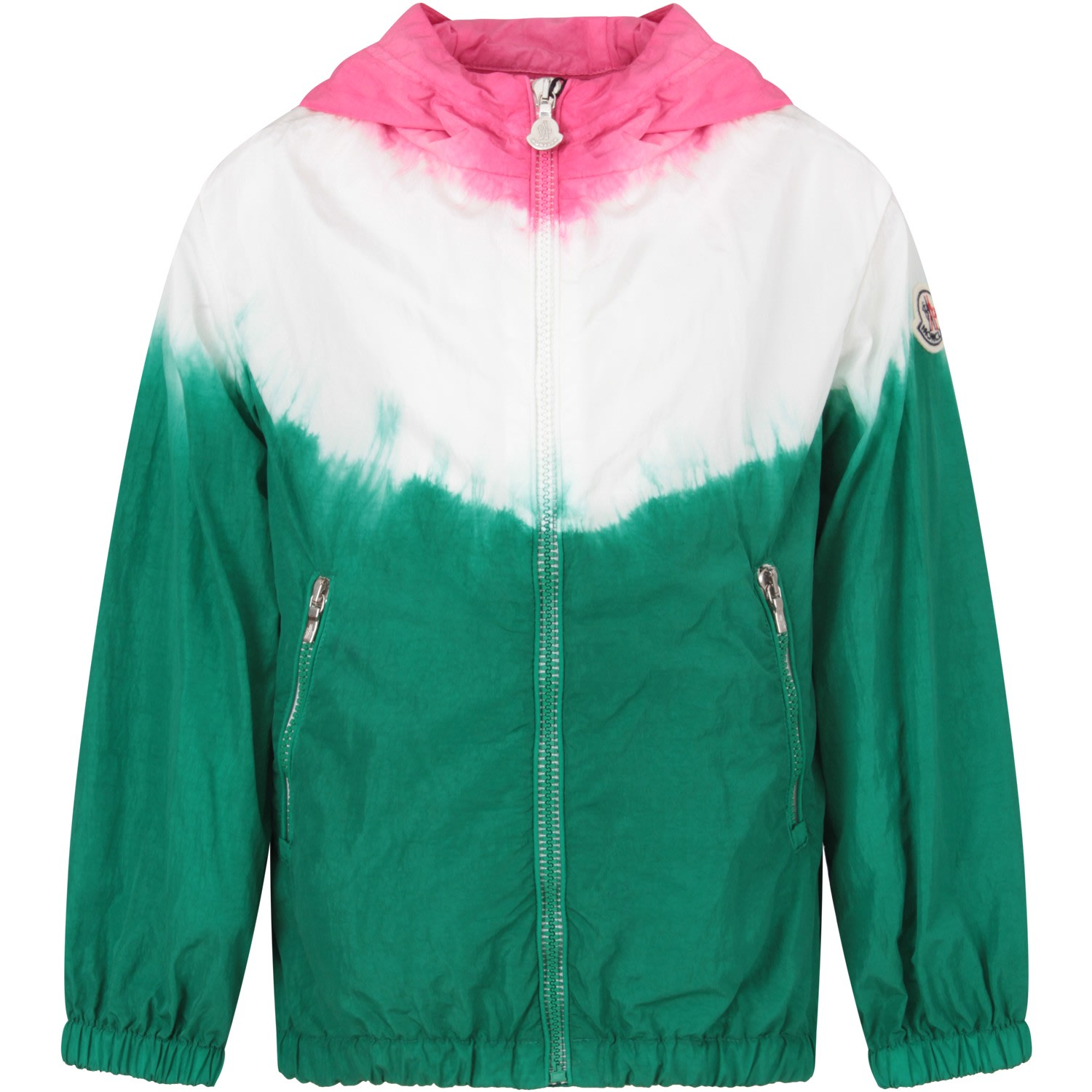 Moncler Fuchsia, White And Green Girl Windbreaker With Iconic Patch