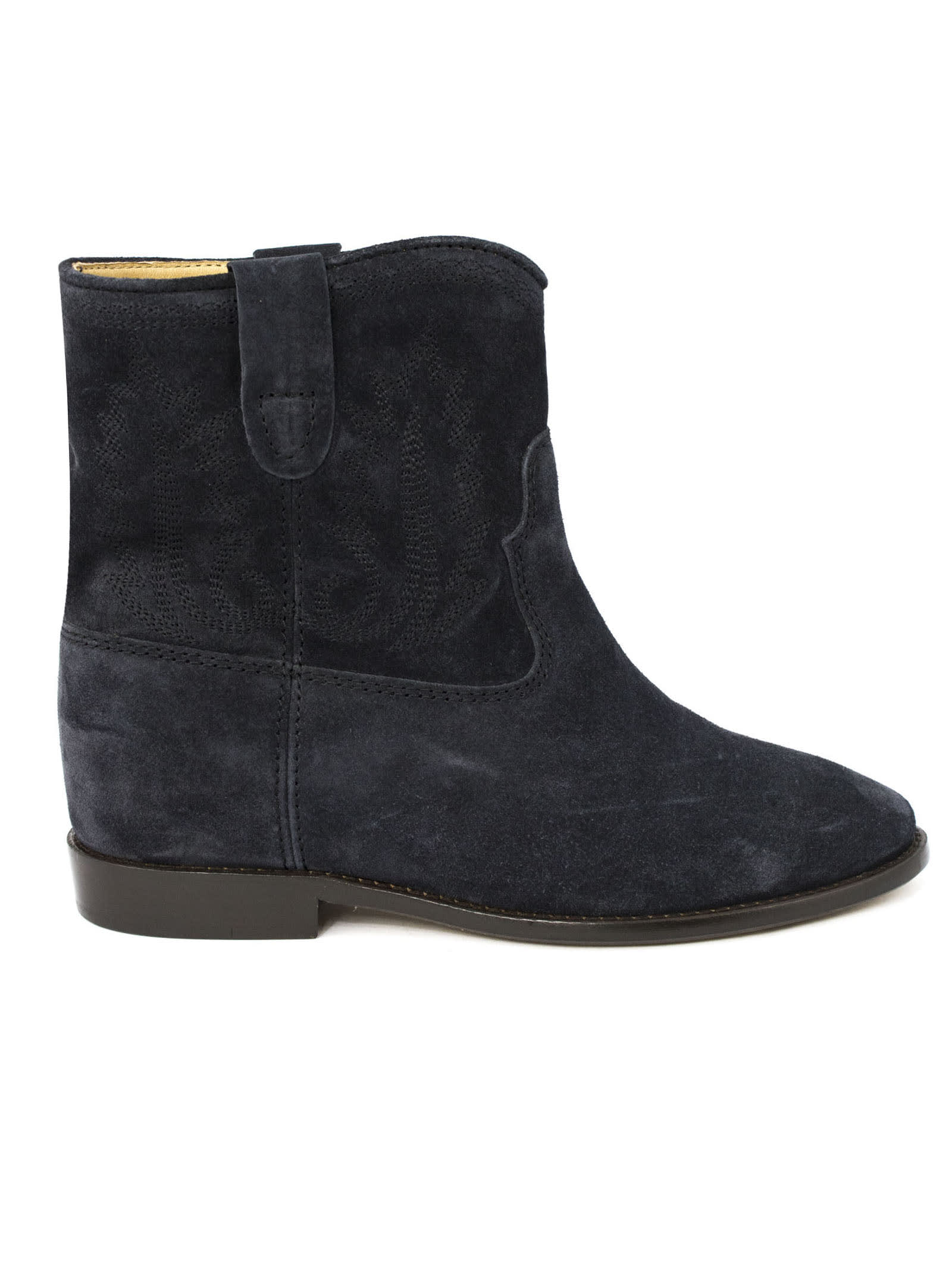 Isabel Marant Faded Black Leather Crisi Ankle Boots