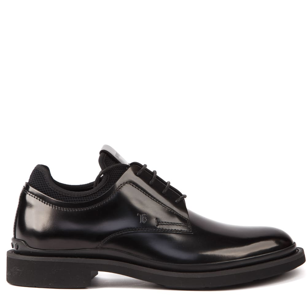 Tods Black Leather Lace Up Oxford Shoes