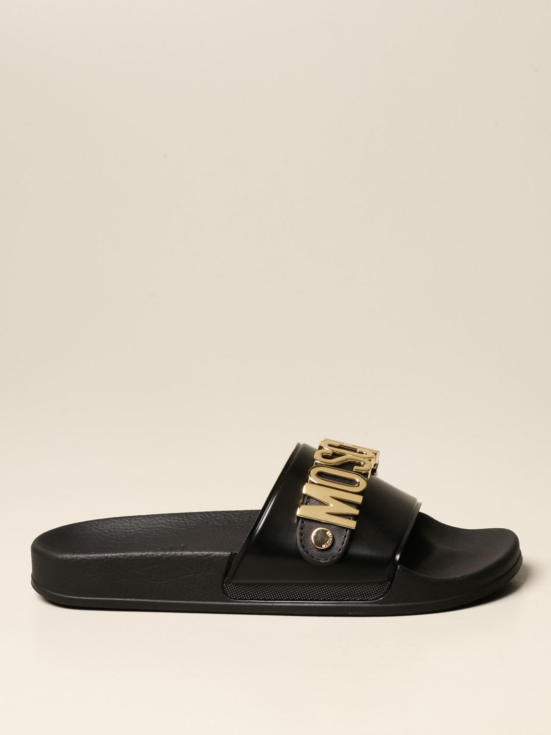 Moschino Couture Flat Sandals Moschino Couture Slipper Sandal In Rubber With Logo