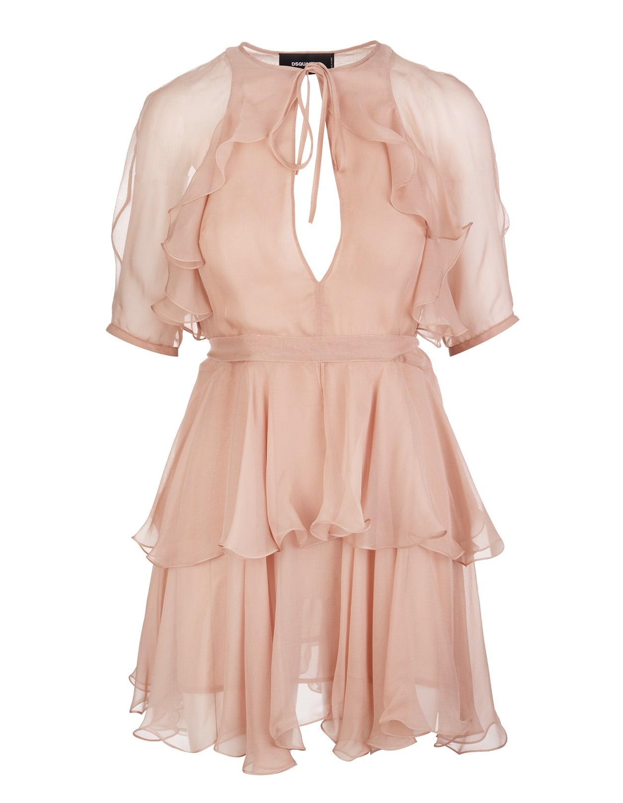 Pale Pink Silk Delilah Short Dress