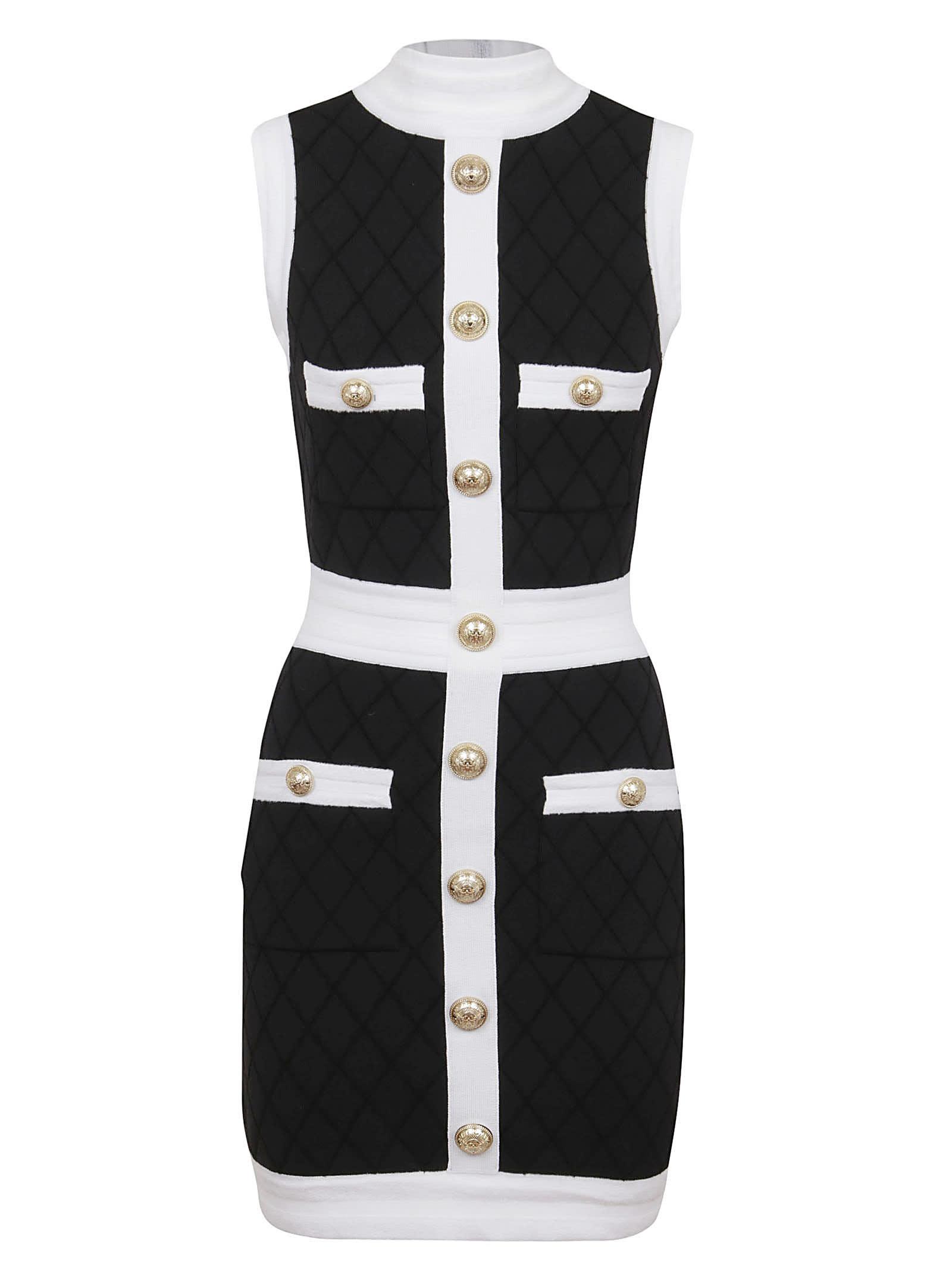 Balmain Short Sleeveless Quilted Dress