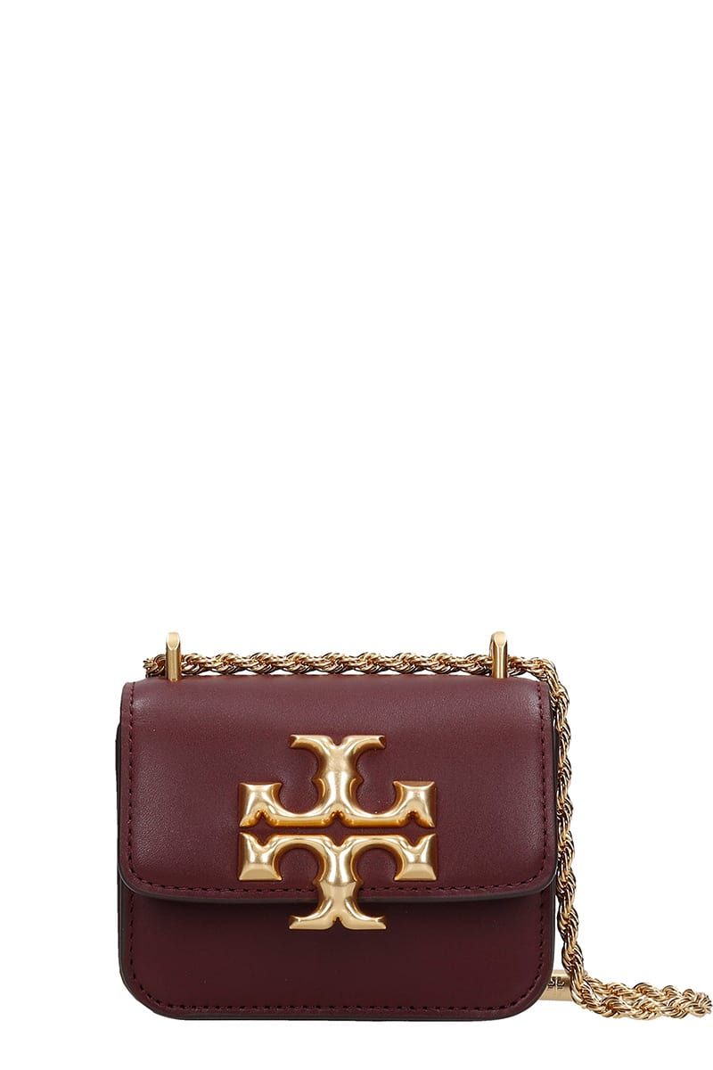 Tory Burch ELEONOR MINI SHOULDER BAG IN BROWN LEATHER