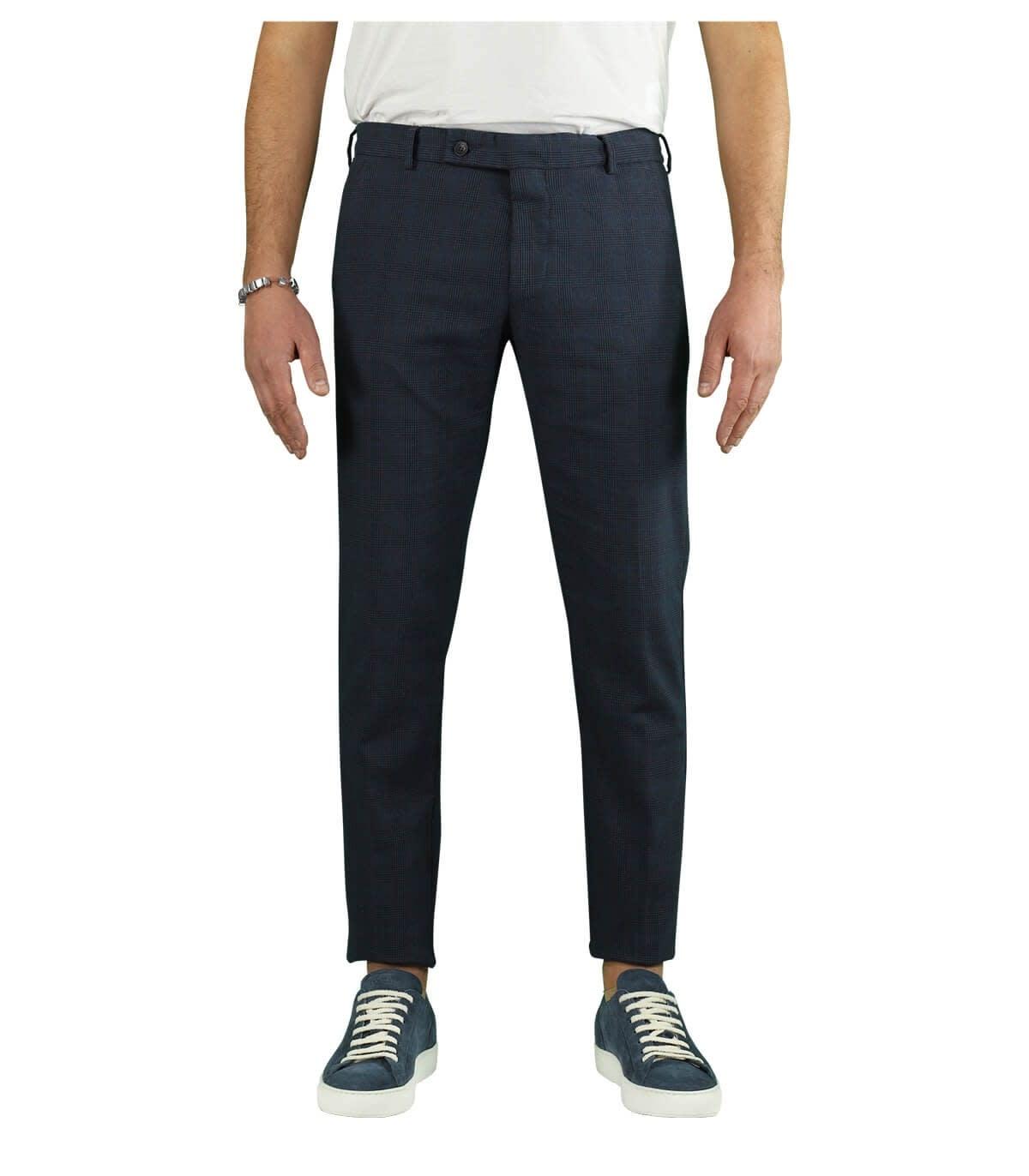 Morello Overcheck Blue Chino Trousers