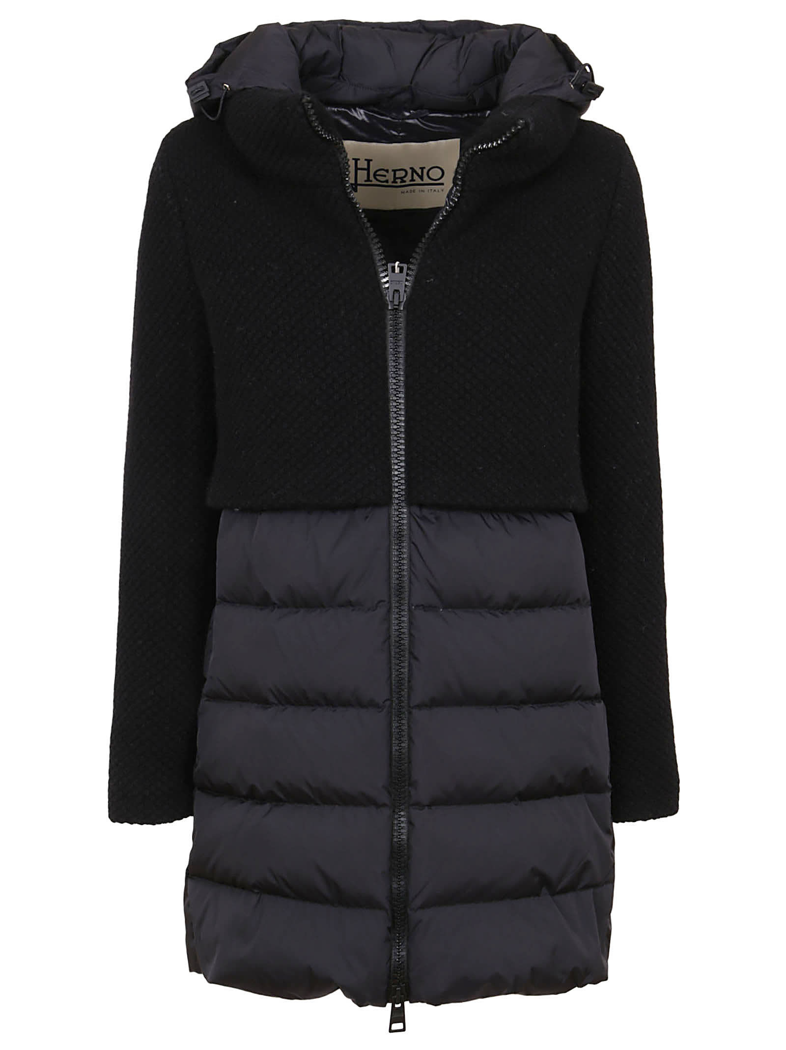 Black Technical Fabric And Wool Padded Coat
