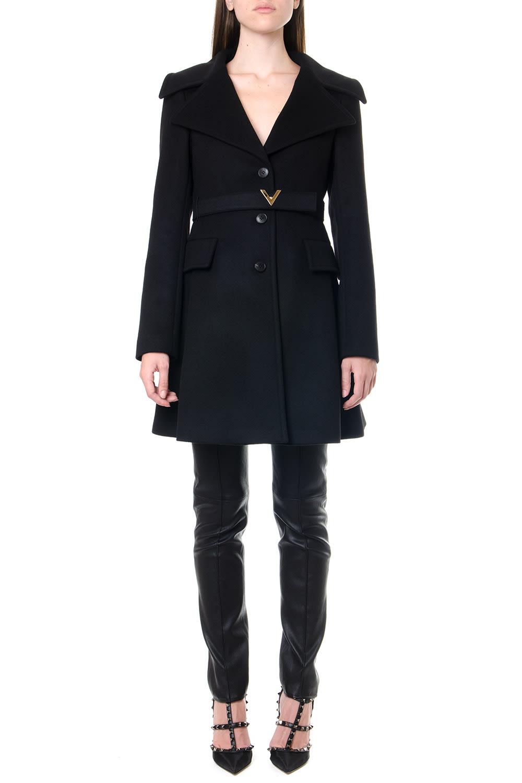 Valentino Black Wool-cashmere Blend Belted Coat