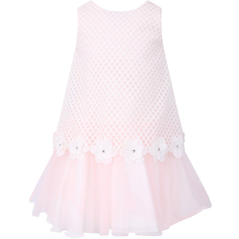 Loredana White And Pink Girl Dress With Flowers And Rhinestones