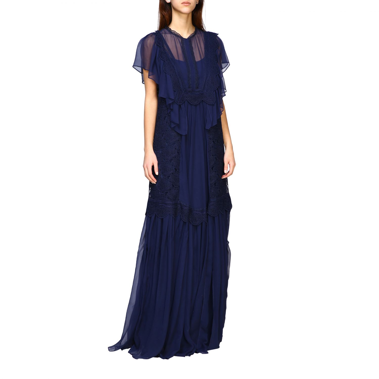 Alberta Ferretti Long Dress In Embroidered Knit In Blue
