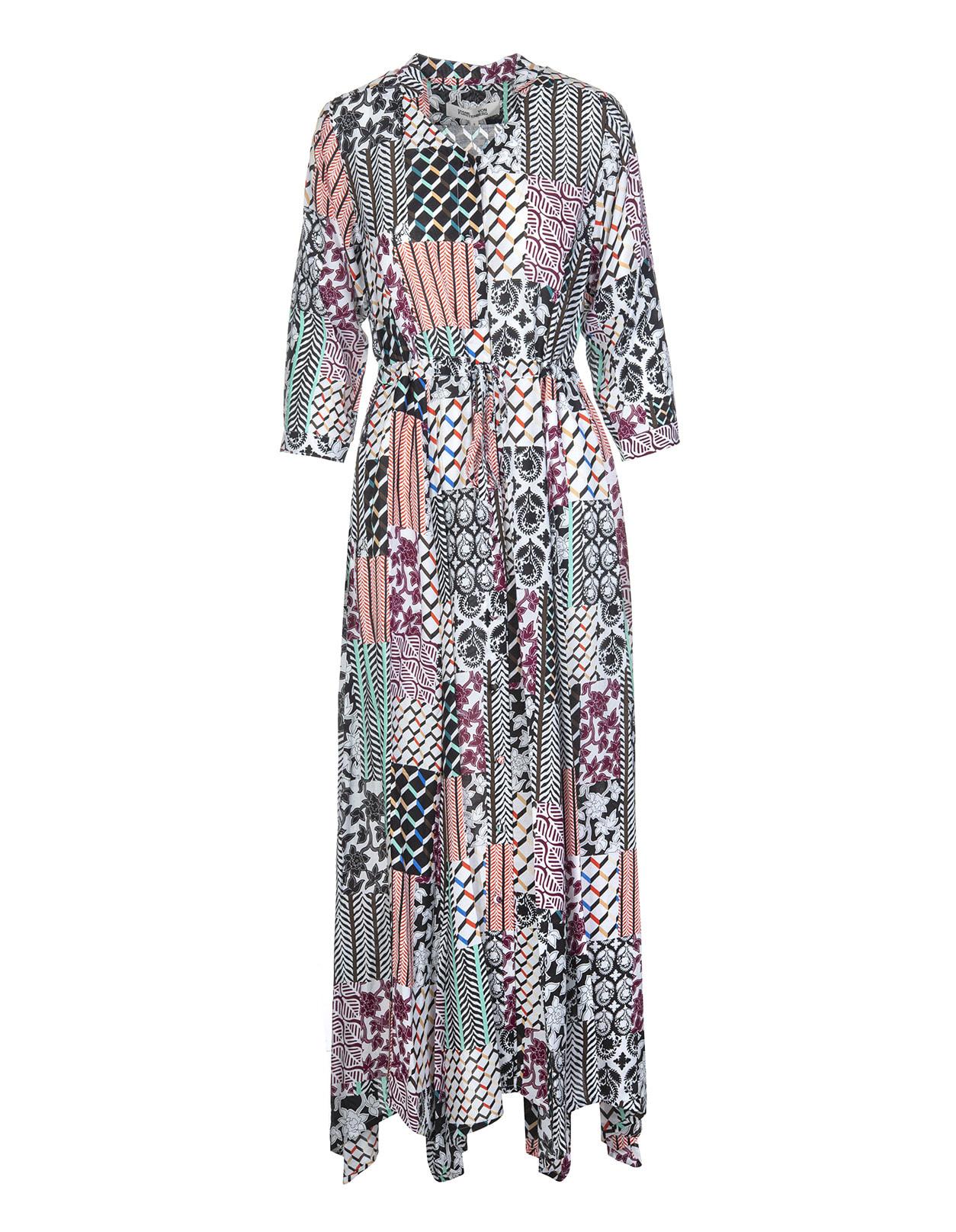 Diane Von Furstenberg Lily Silk-viscose Voile Maxi Dress In Ibiza Quilt Natural