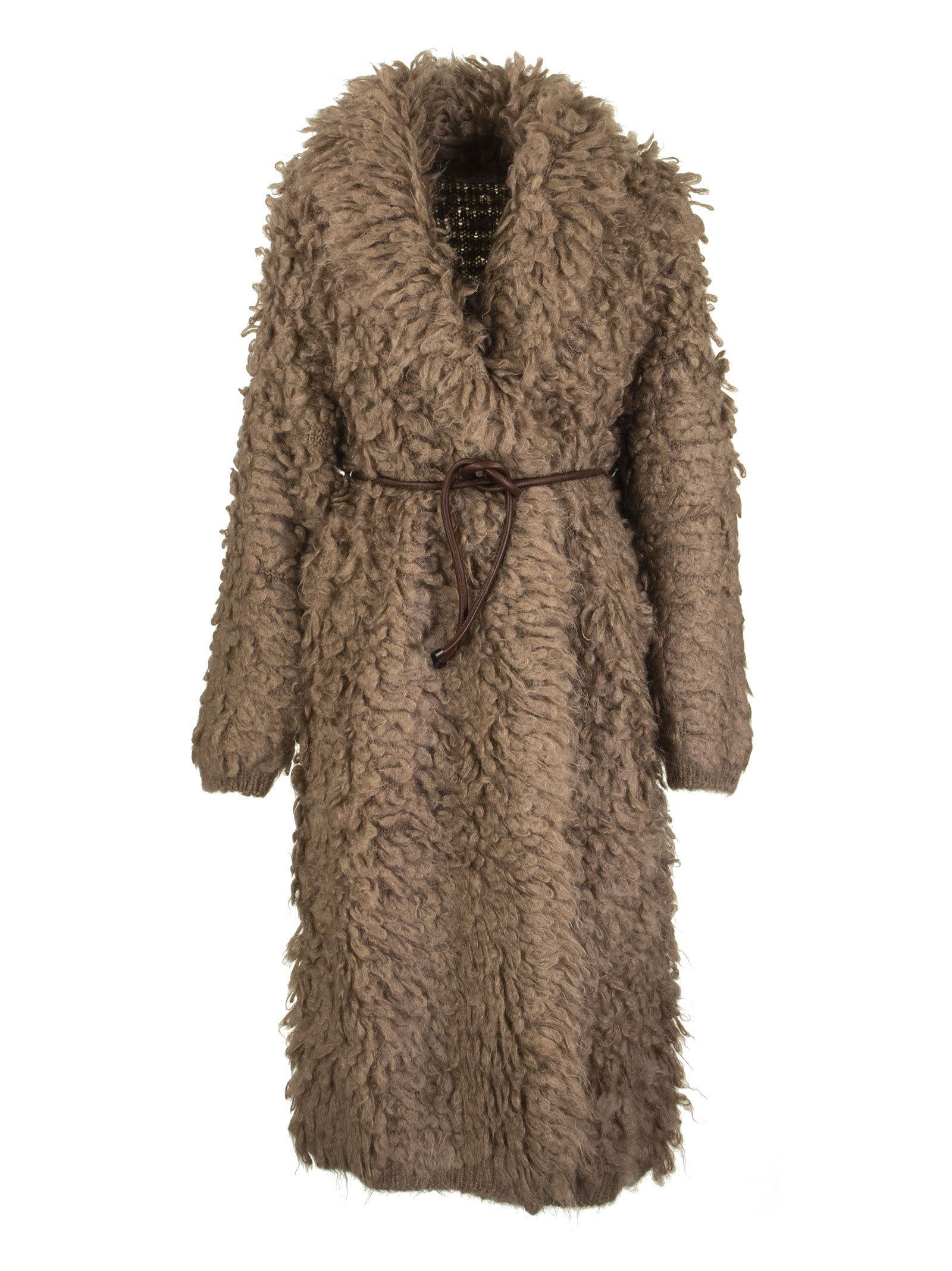 Brunello Cucinelli Long Cardigan In Mohair And Wool Fur Stitch