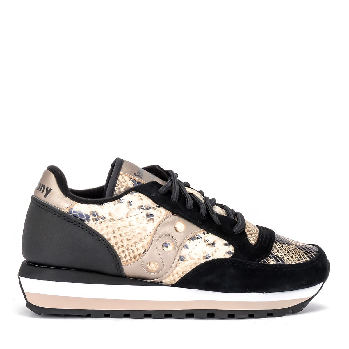 eafef67d30 Saucony Jazz Triple Sneaker In Black Suede And Animalier Leather With Gold  Details