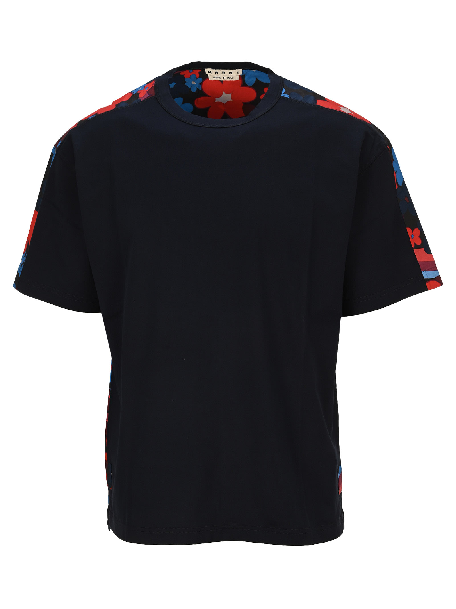 Marni Floral Back T-shirt In Navy Flower