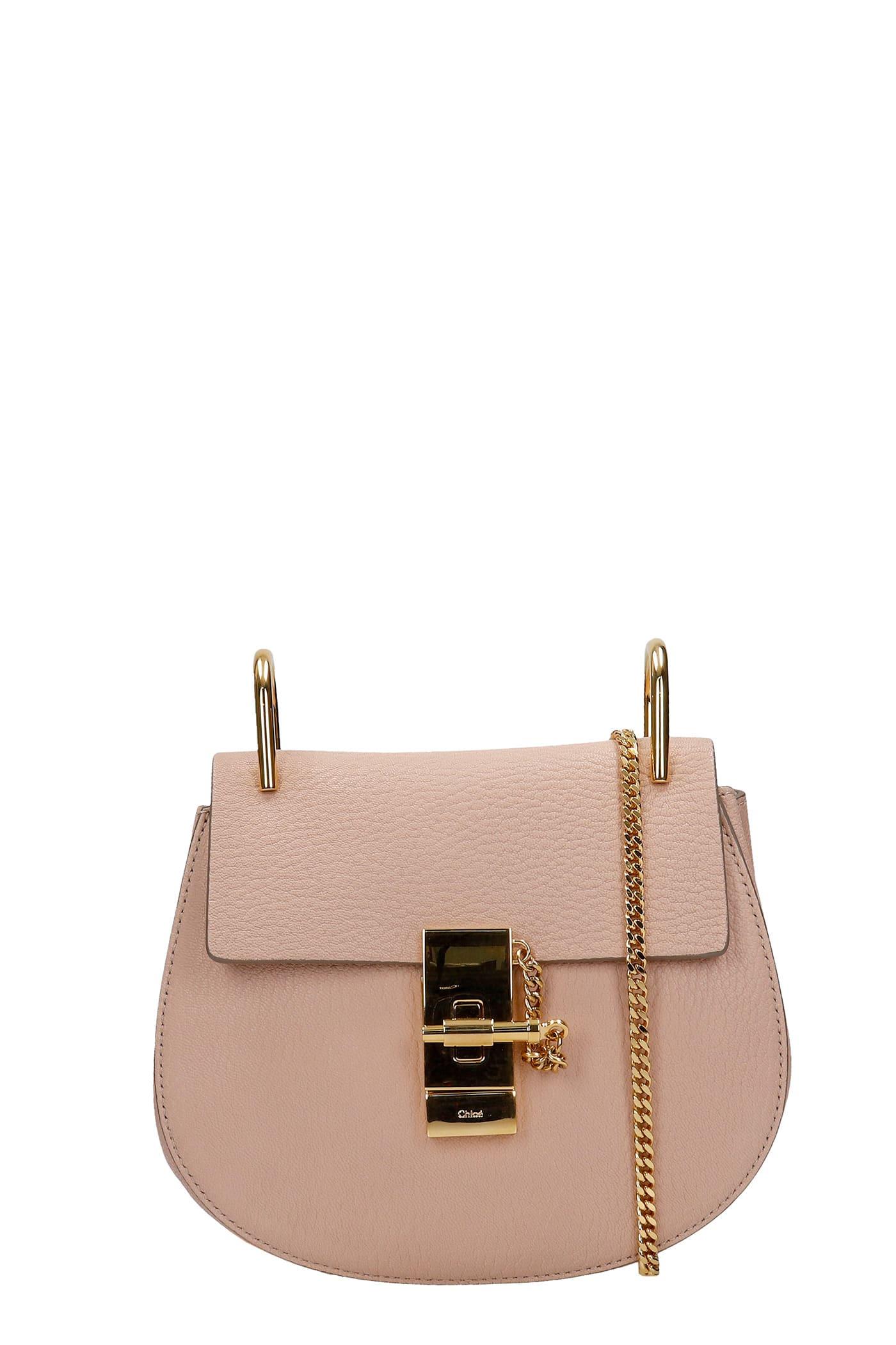 Chloé DREW SHOULDER BAG IN ROSE-PINK LEATHER