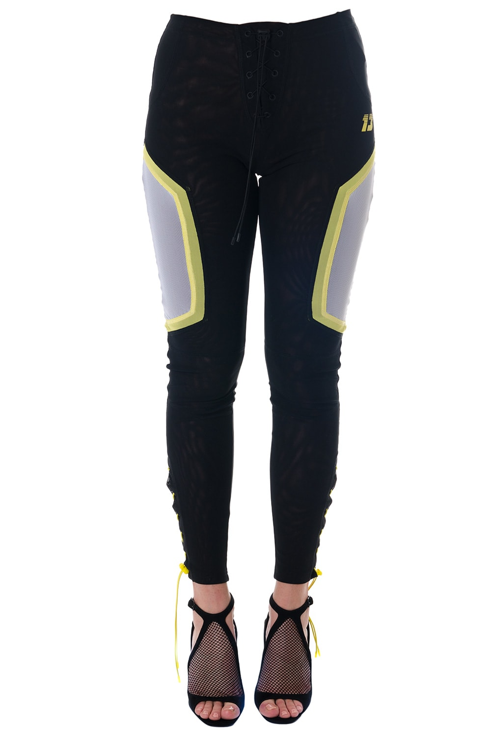 Black Sporty Pants With Mesh Details