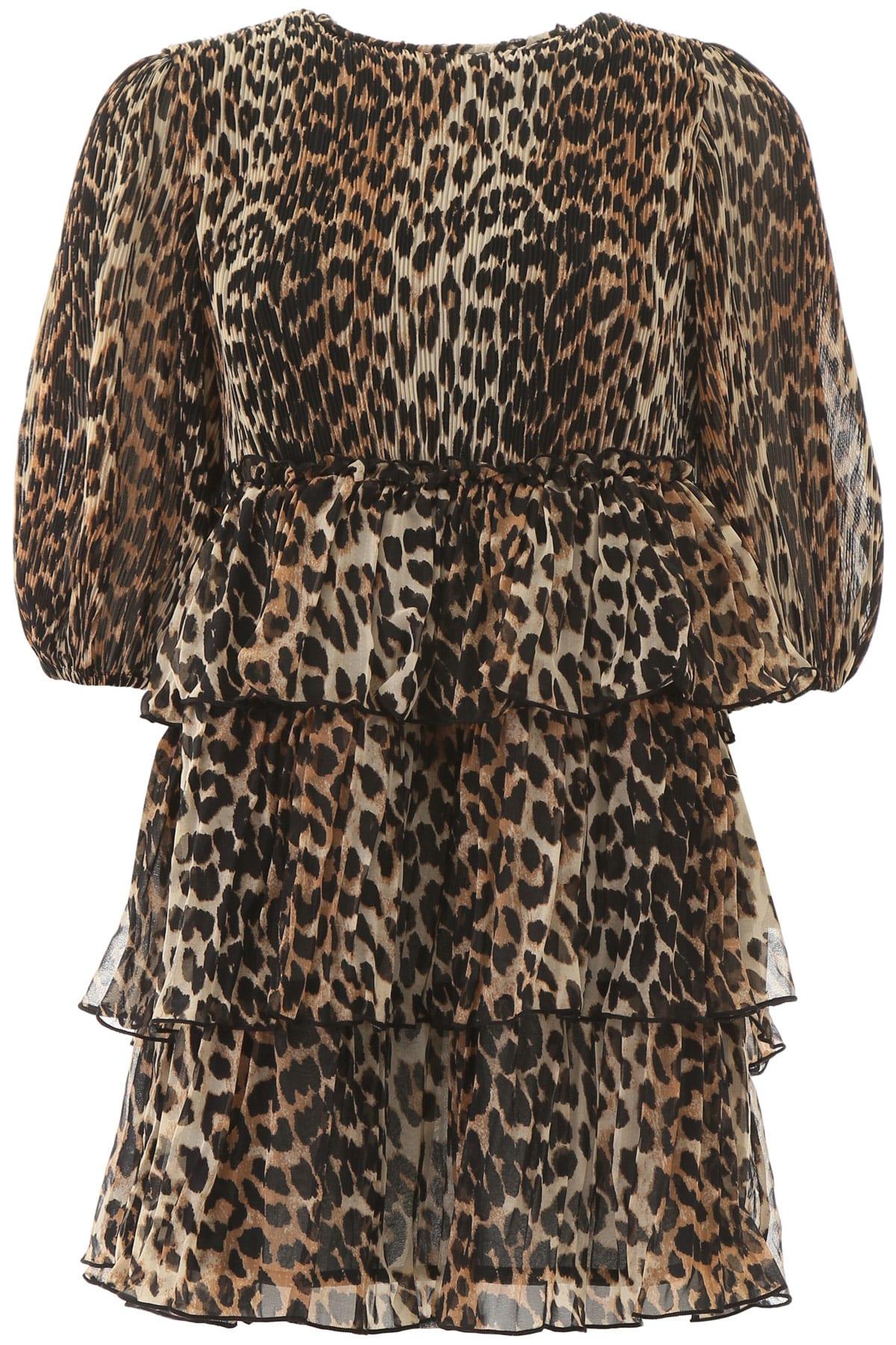 Buy Ganni Leopard Print Mini Dress online, shop Ganni with free shipping