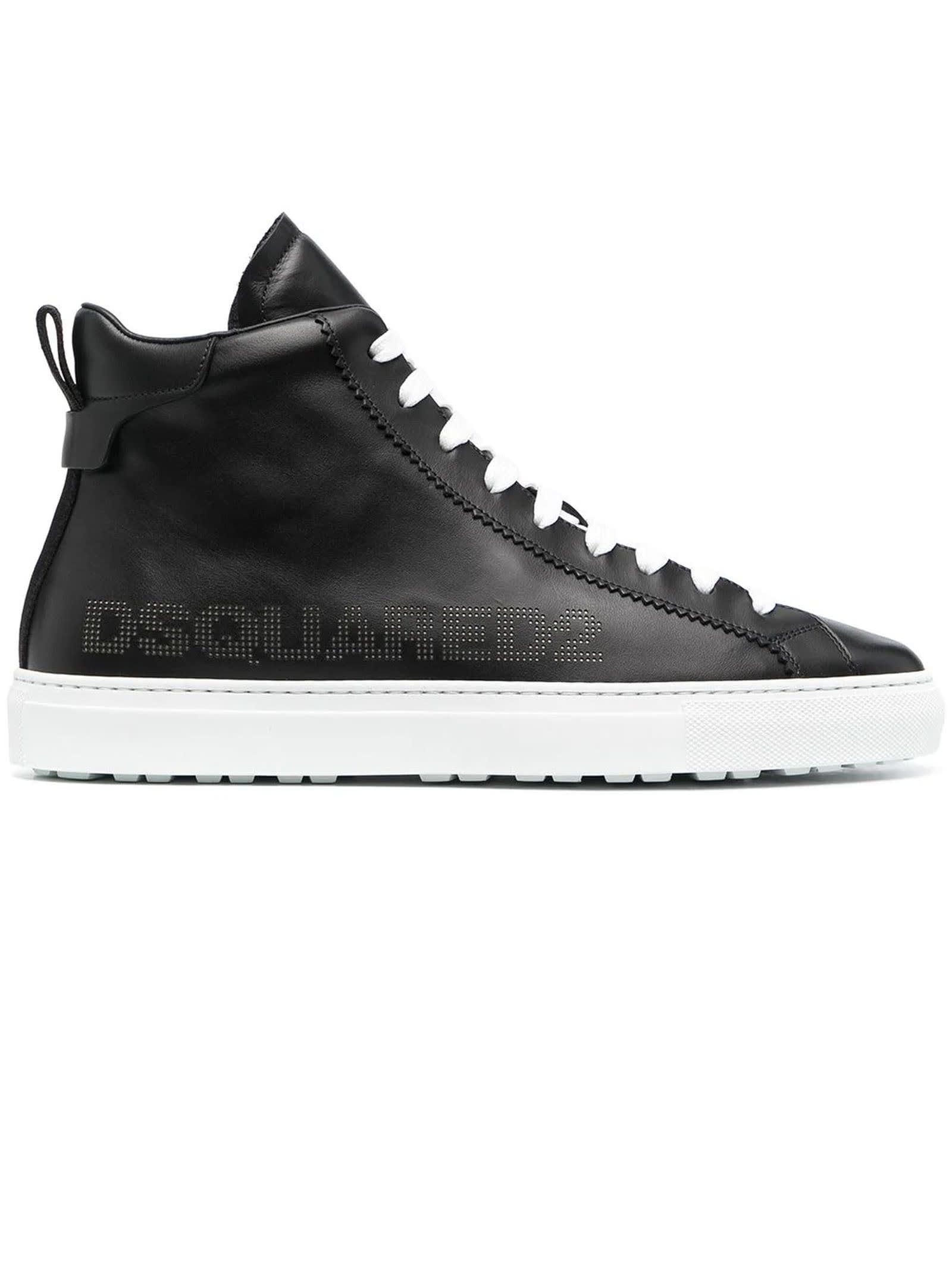 Dsquared2 Leathers BLACK LEATHER HIGH-TOP SNEAKERS