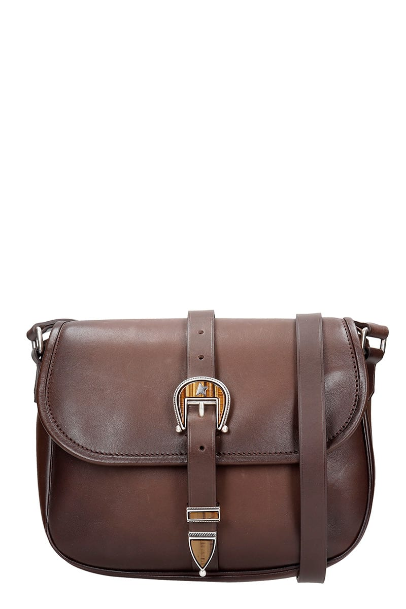 Rodeo Shoulder bag in brown leather, leather strap, magnetic closure, buckle closure, silver hardware, vintage effect, Height 220 mm, Width 270 mmComposition: Leather