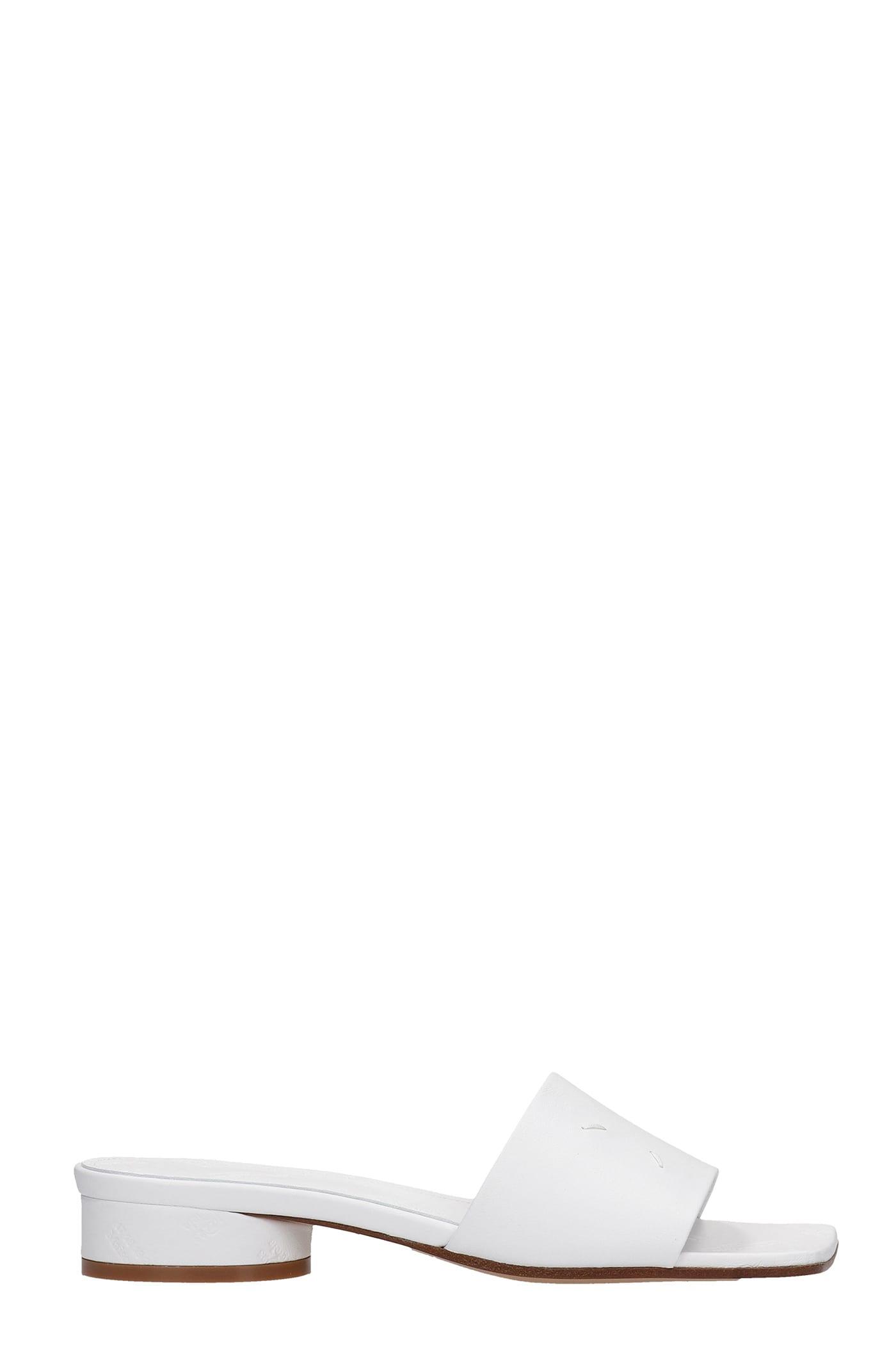 Buy Maison Margiela Flats In White Leather online, shop Maison Margiela shoes with free shipping