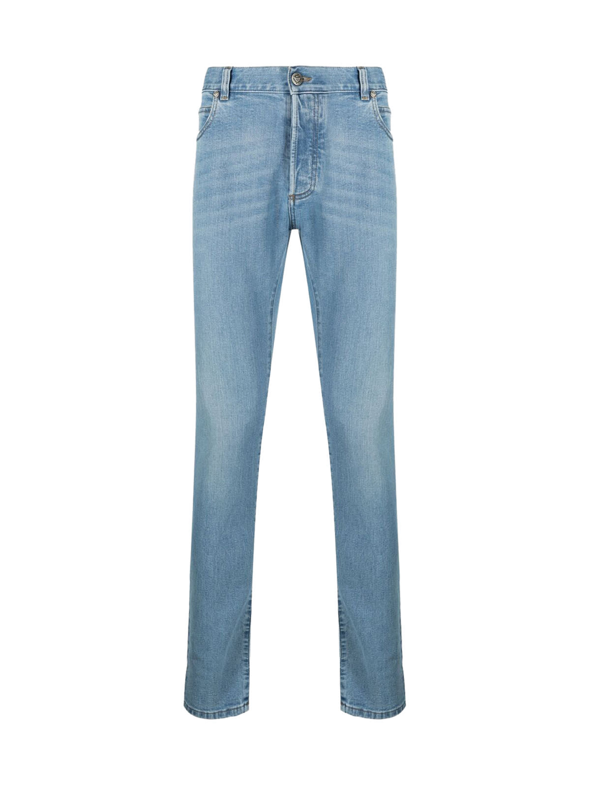Balmain EMBROIDERED SLIM JEANS-LIGHT BLUE