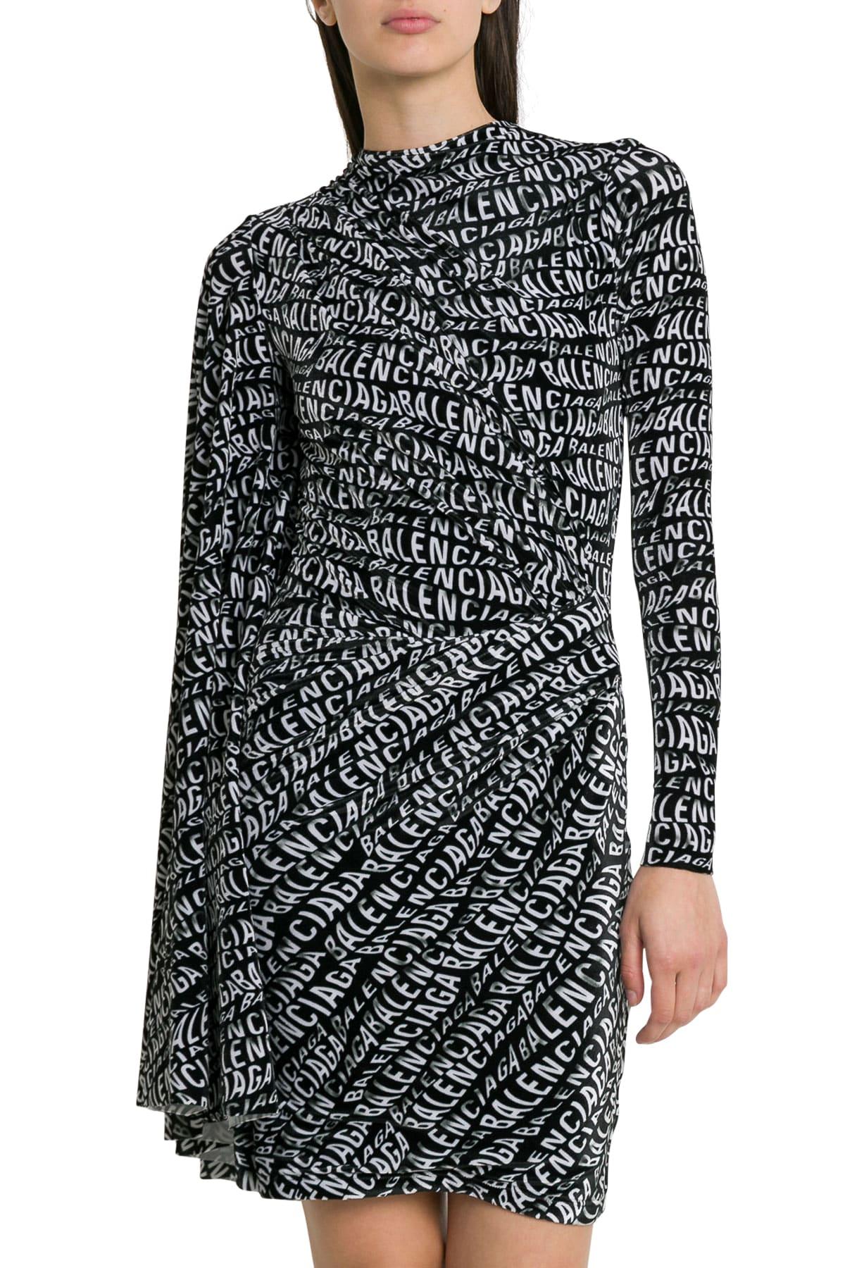 Balenciaga Asymmetric Dress With Allover Logo And Dolman Sleeve
