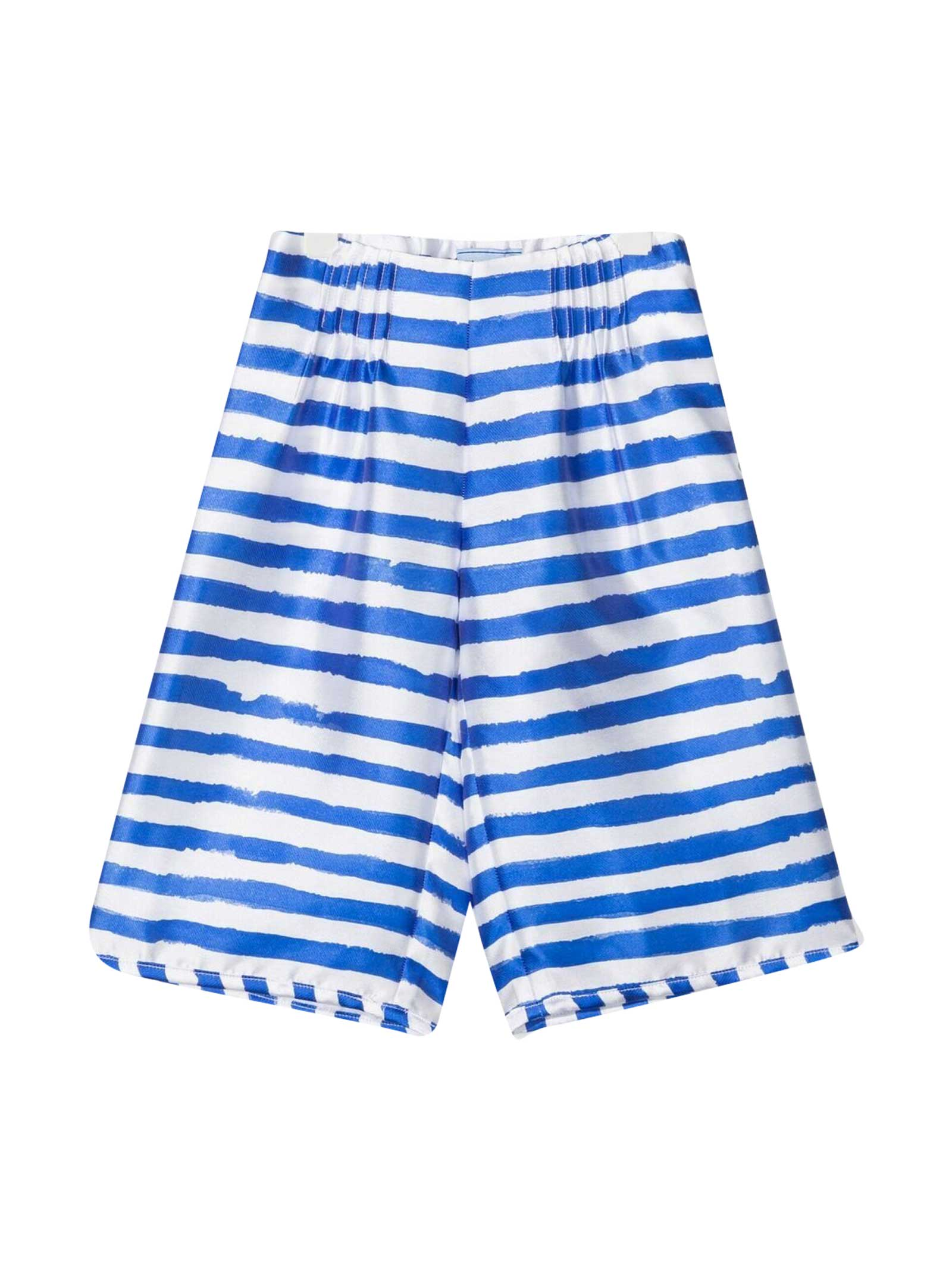 White Shorts With Blue Stripes Mi Mi Sol Kids