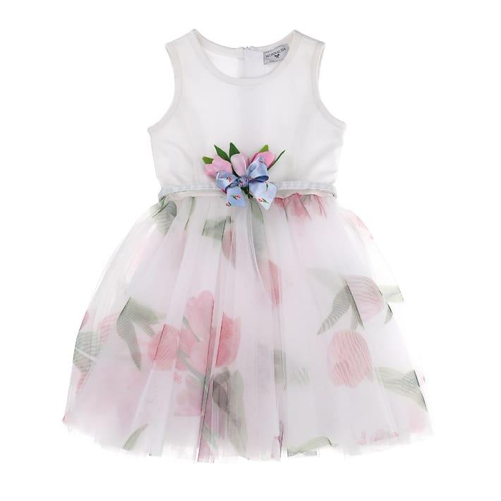 Buy Monnalisa Tulips Print Tulle Dress online, shop Monnalisa with free shipping