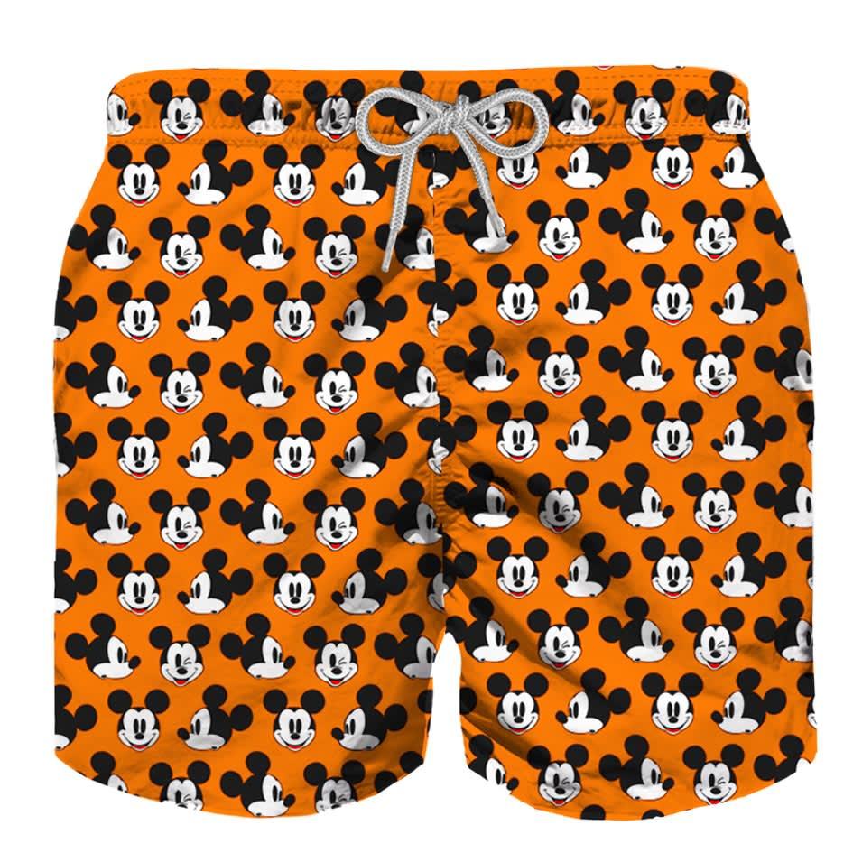 MC2 Saint Barth Mickey Mouse Orange Light Fabric Swimsuit - Disney© Special Edition