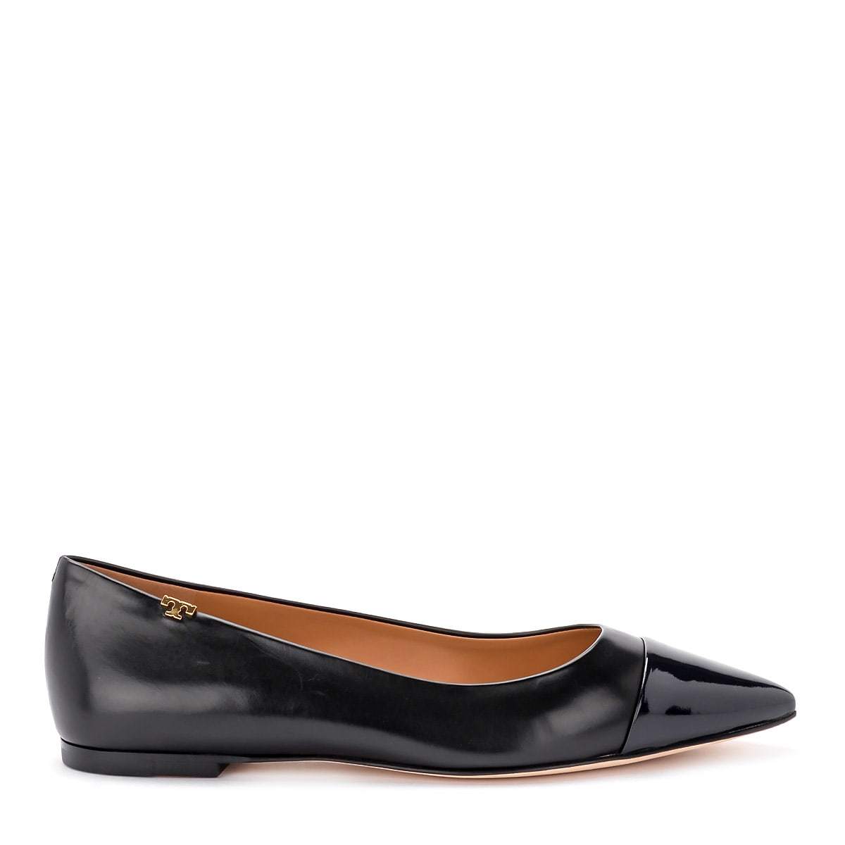 Tory Burch Penelope Black Nappa Flat Shoes With Blue Toe