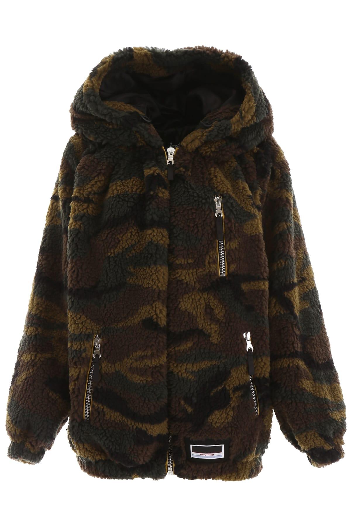 Miu Miu Camouflage Faux Shearling Jacket