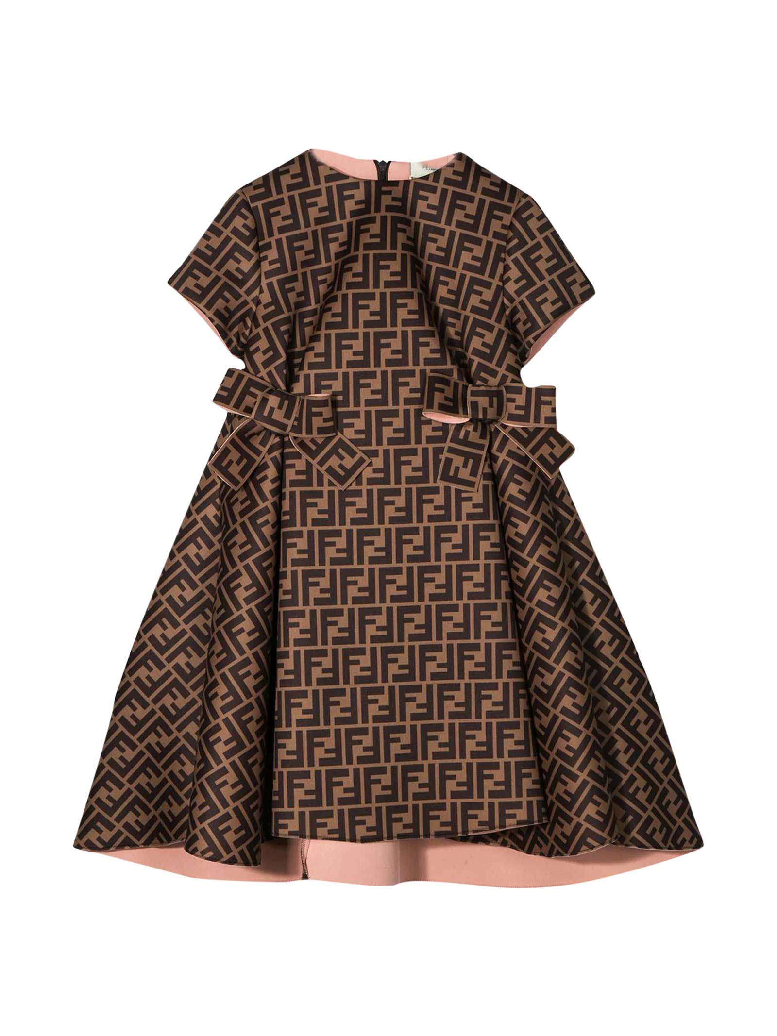 Buy Brown Dress With Logo Trama online, shop Fendi with free shipping