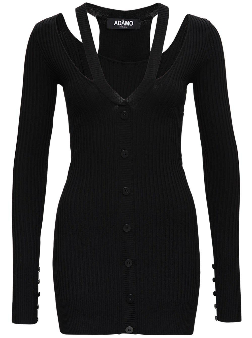 Black Ribbed Knit Dress