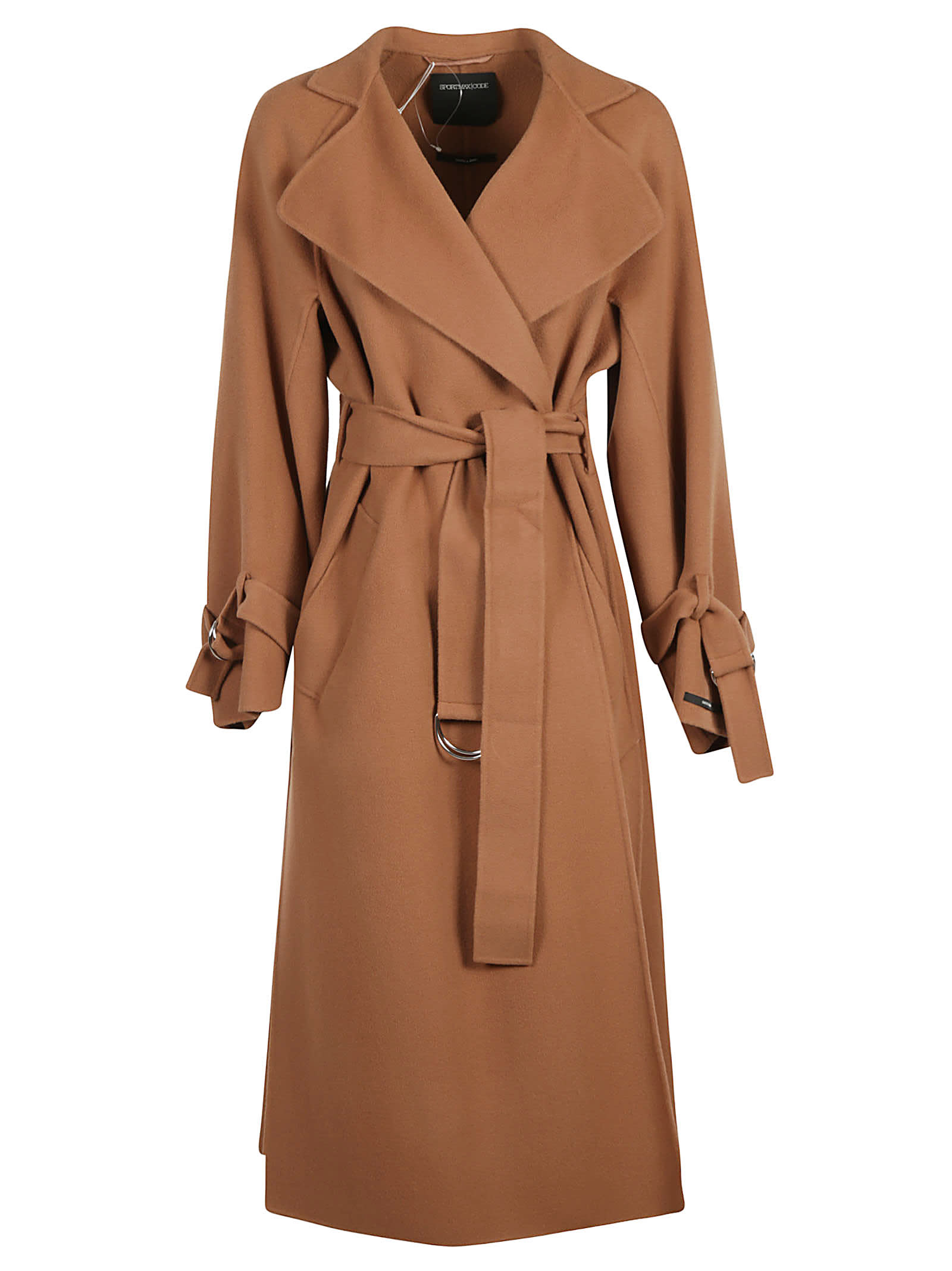 Photo of  SportMax Wrapped Style Belted Waist Long Coat- shop SportMax jackets online sales