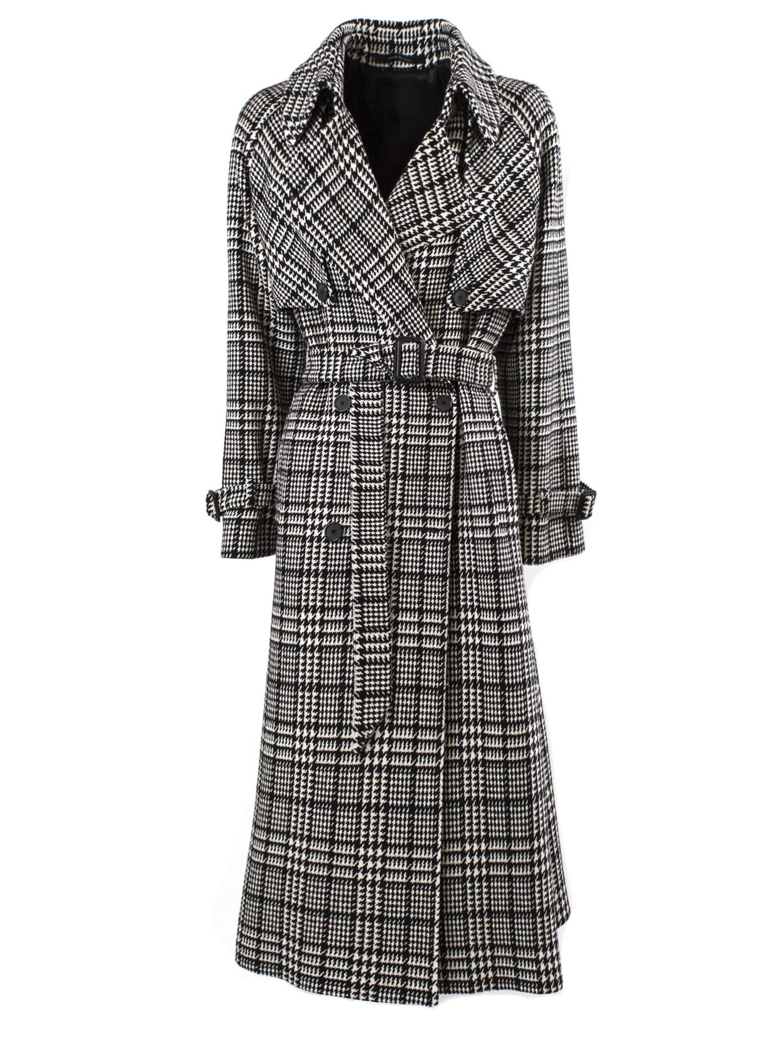 Tagliatore Black And White Wool-blend Trench Coat