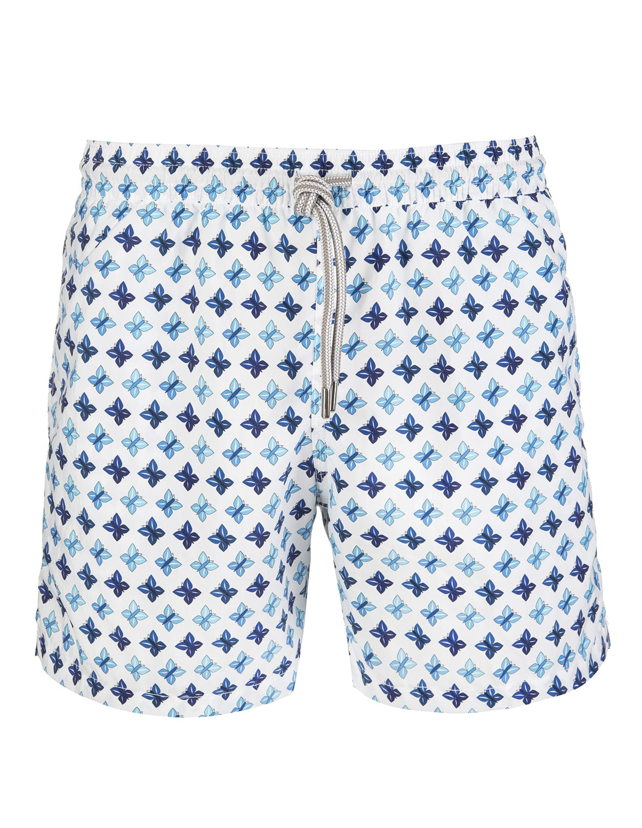 White Swimsuit With Blue Butterflies Pattern