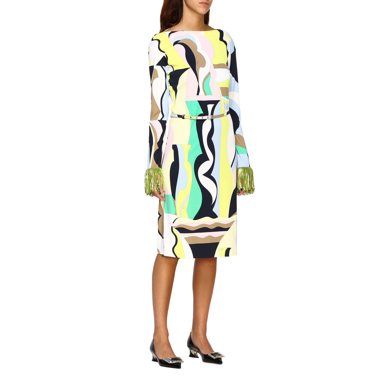 Buy Emilio Pucci Dress Marilyn Emilio Pucci Dress With Vallauris And Fringes Print online, shop Emilio Pucci with free shipping