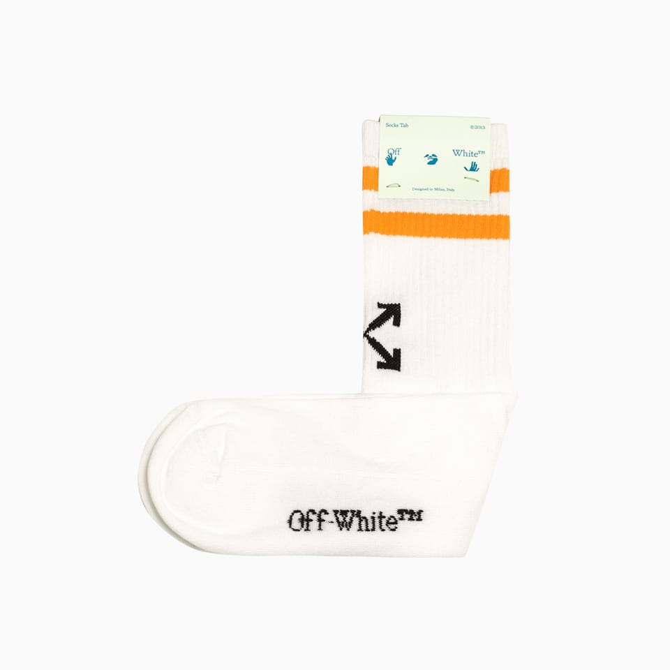 Off-white Striped Socks White And Orange White And Orange In 0120