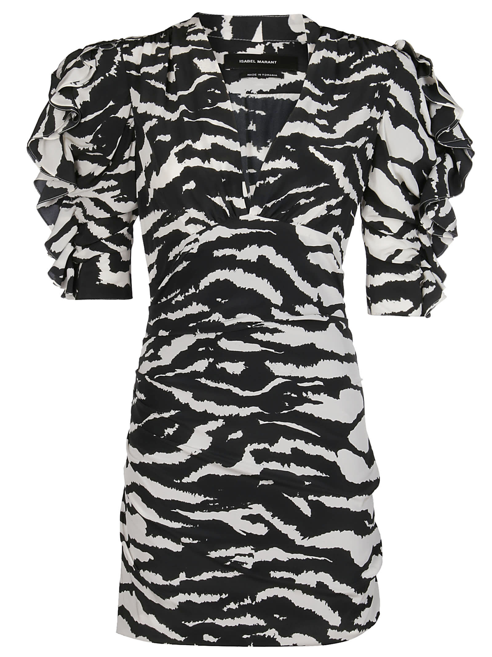 Buy Isabel Marant Black And White Silk Blend Farah Mini Dress online, shop Isabel Marant with free shipping