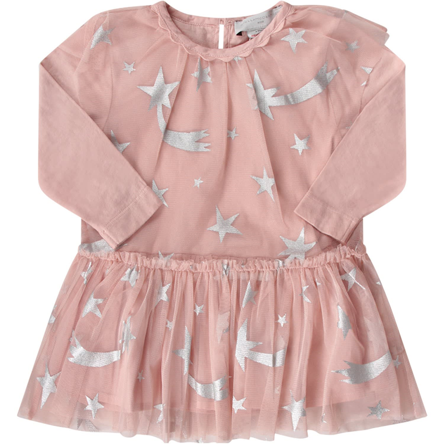 Stella McCartney Kids Pink Babygirl Dress With Silver Stars