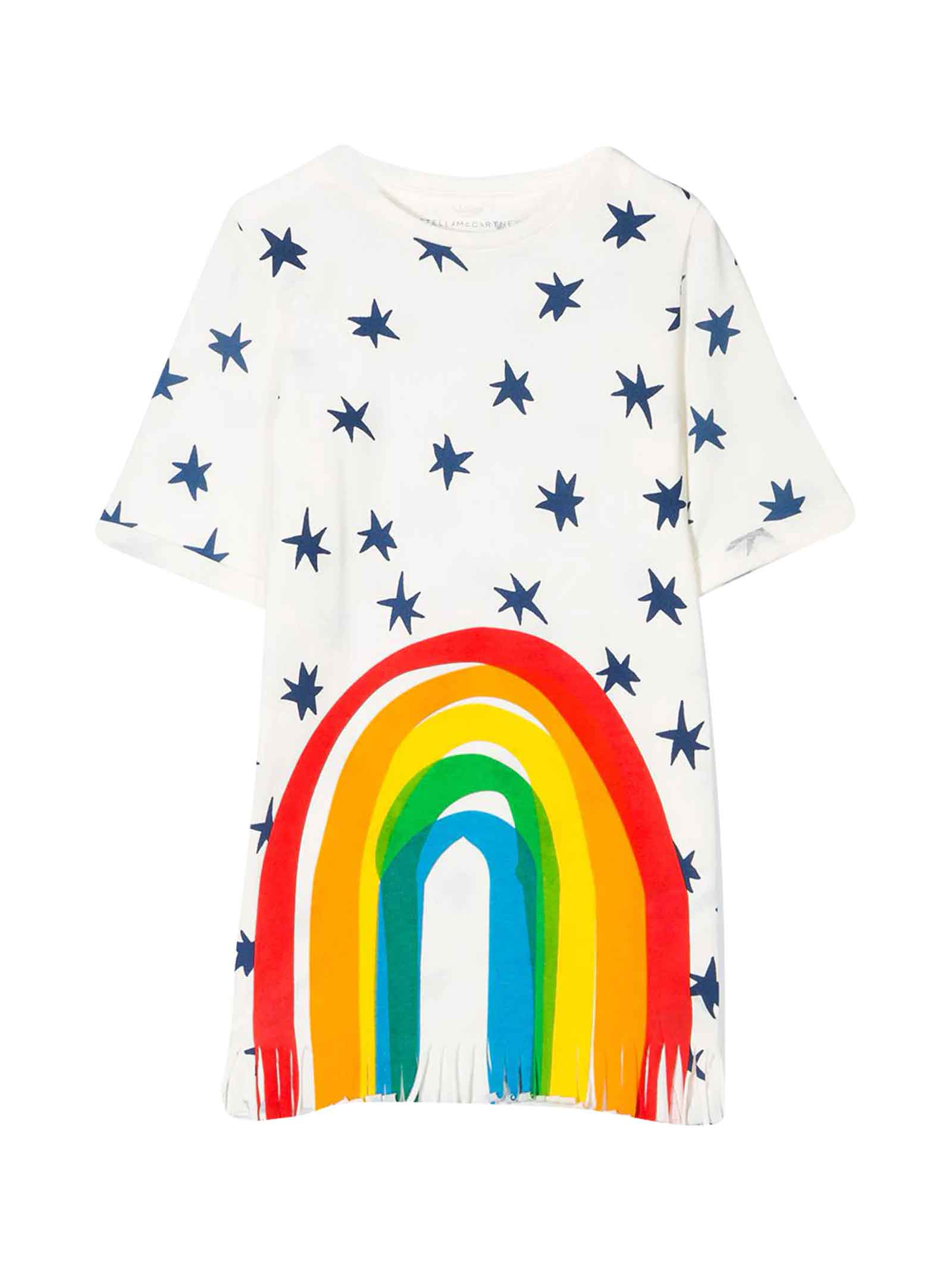 Buy Stella McCartney Kids White Teen Dress With Colored Press online, shop Stella McCartney Kids with free shipping