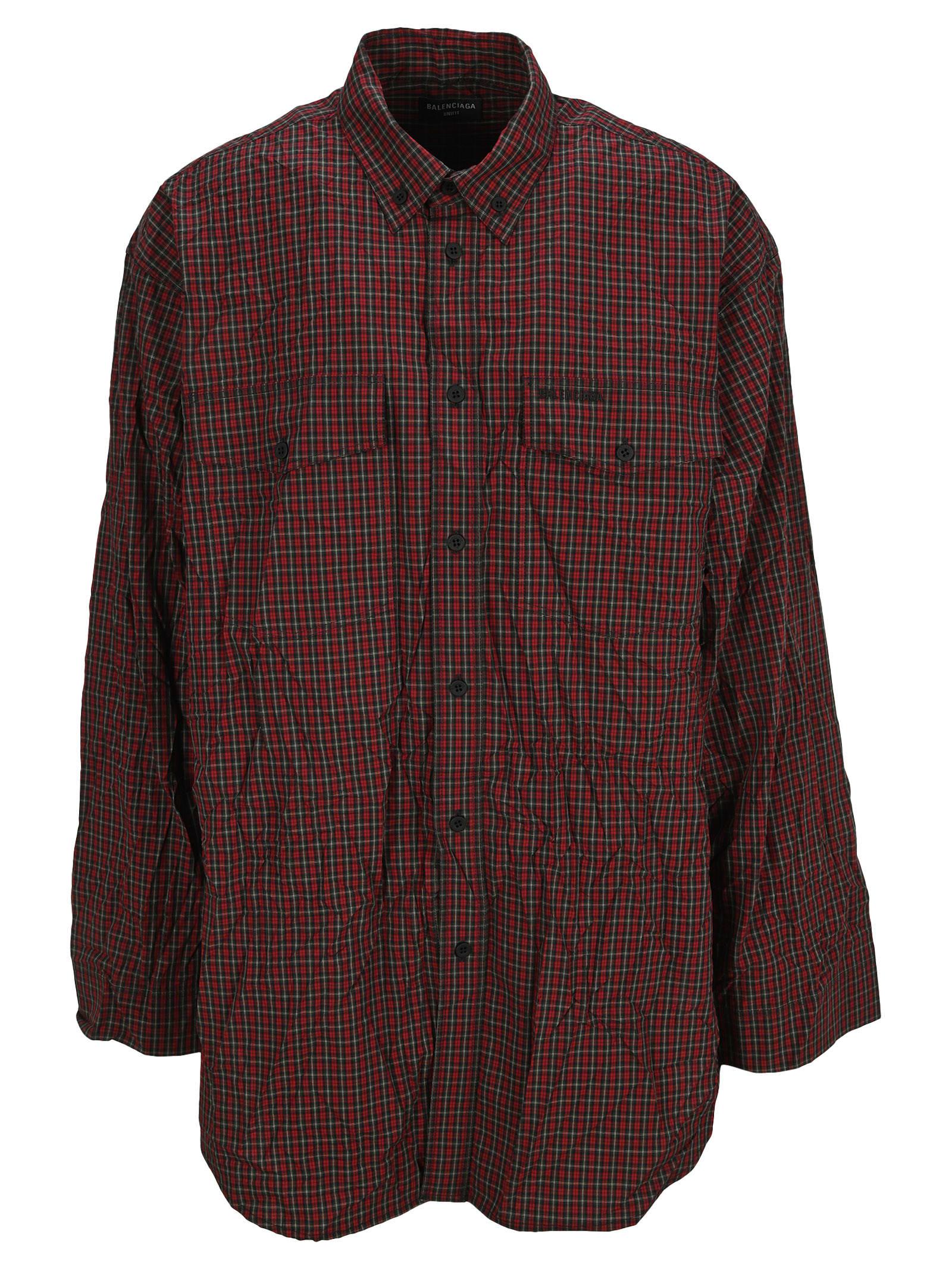 Balenciaga Micro Tartan Oversize Shirt