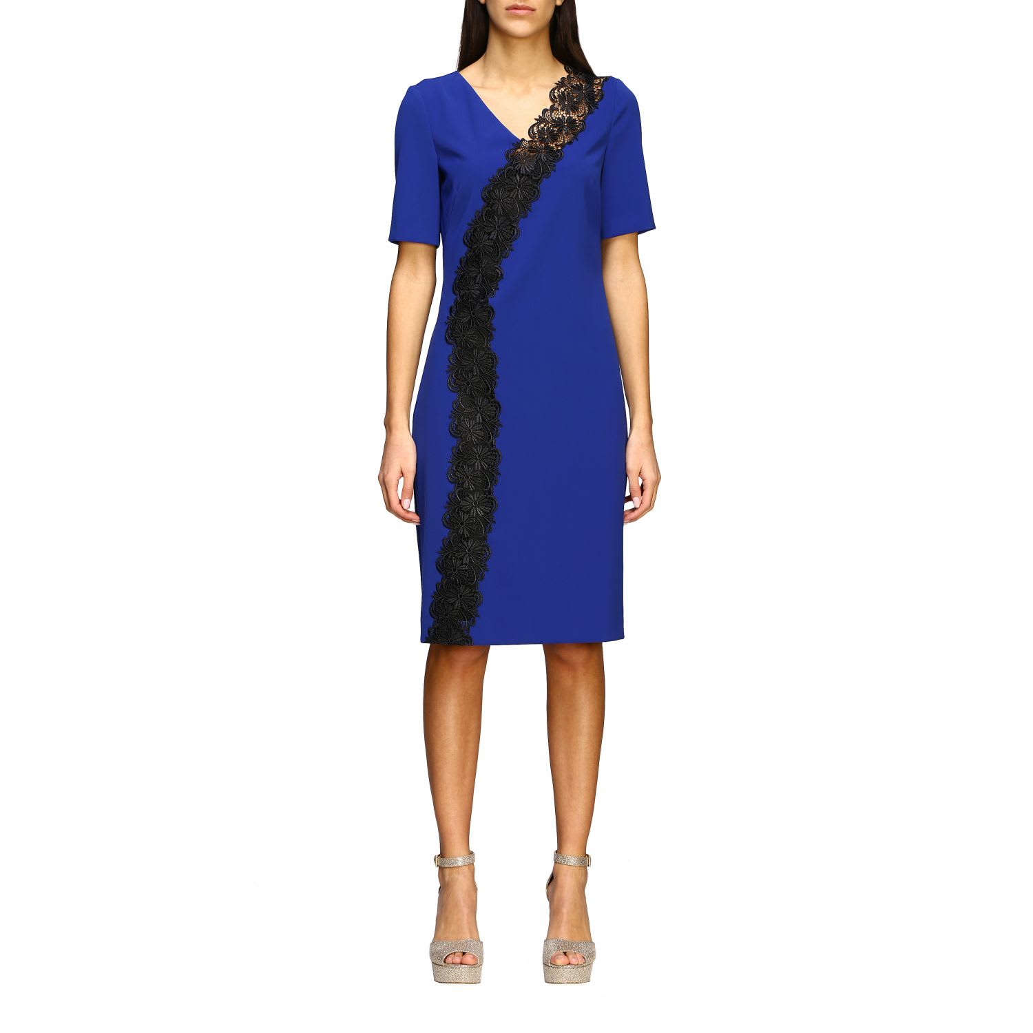 Buy Boutique Moschino Dress Boutique Moschino Stretch Cady Sheath Dress With Macramé Insert online, shop Boutique Moschino with free shipping
