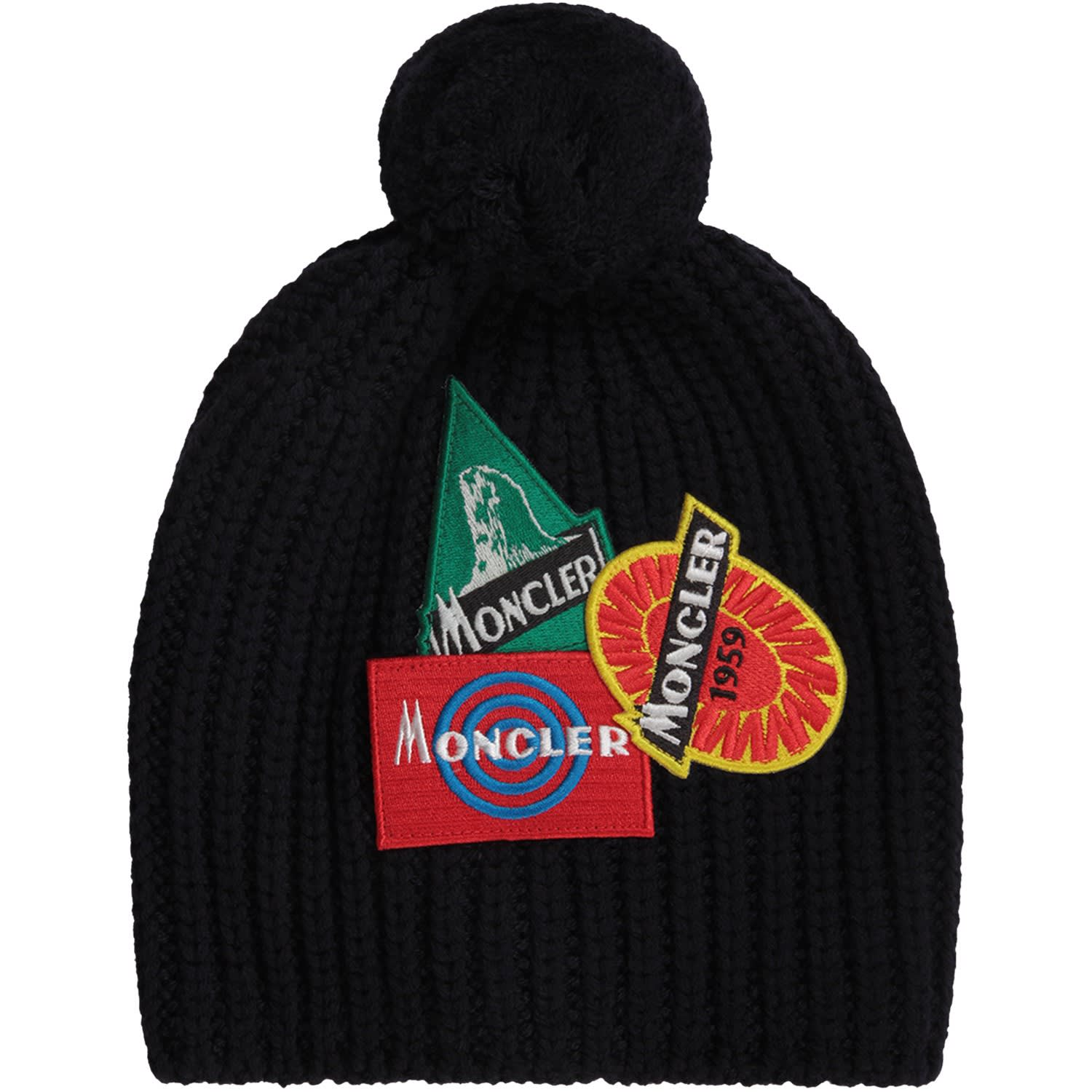 6c95d9ef6 Moncler Blue Boy Hat With Colorful Patches With Logo