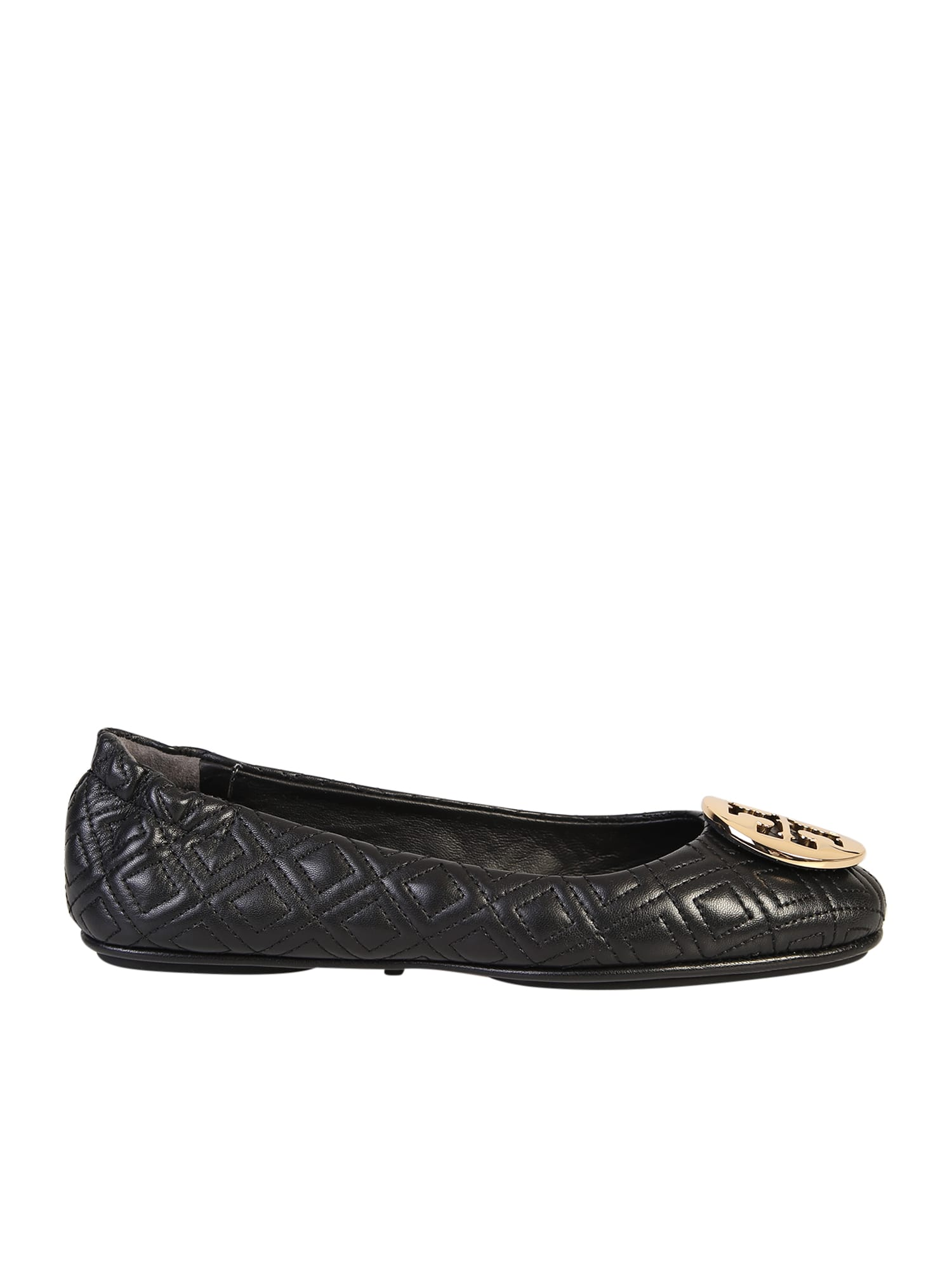 Buy Tory Burch Black Minnie Ballerina Flats online, shop Tory Burch shoes with free shipping